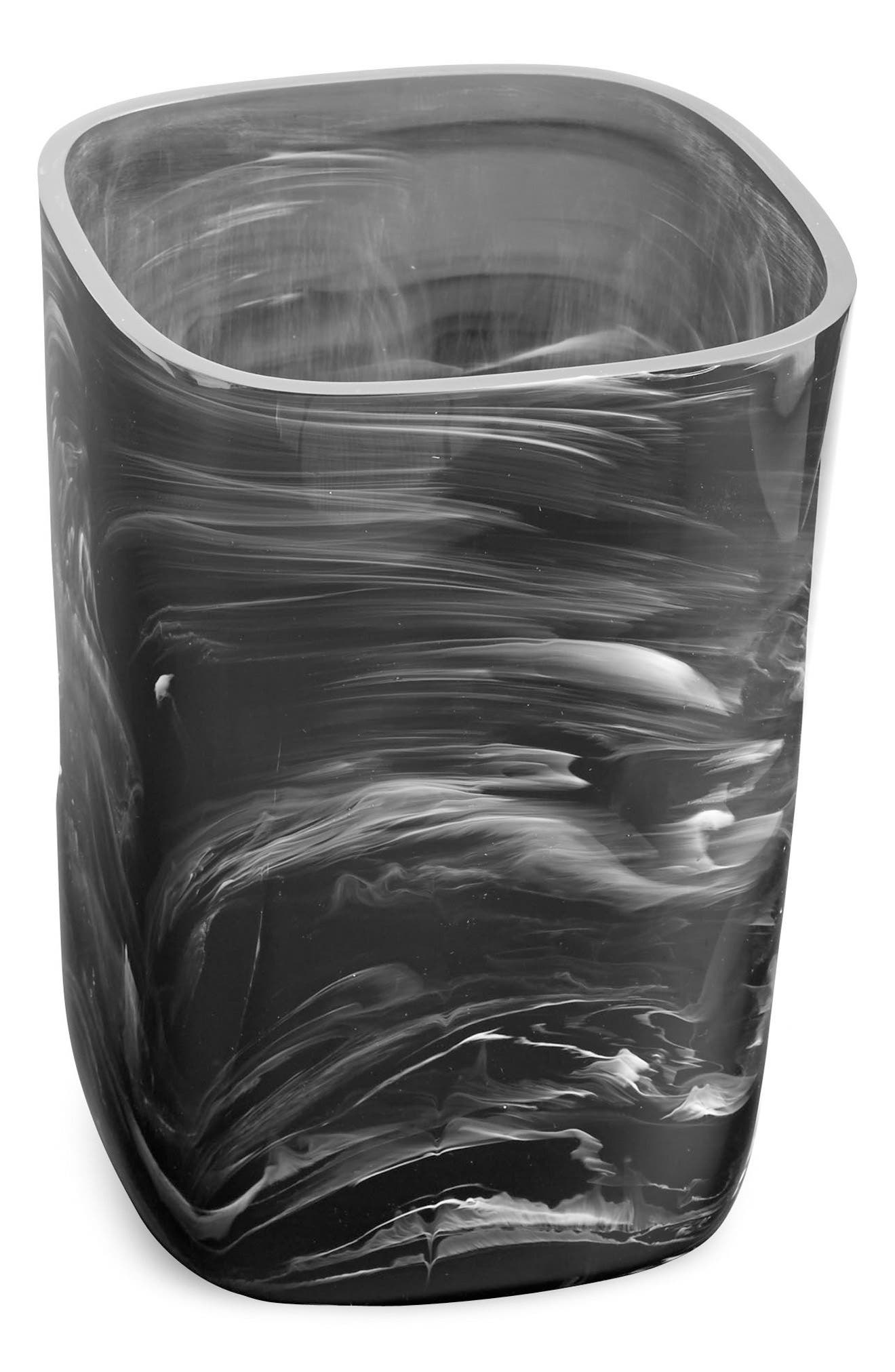 Murano Wastebasket,                         Main,                         color, Black/ White