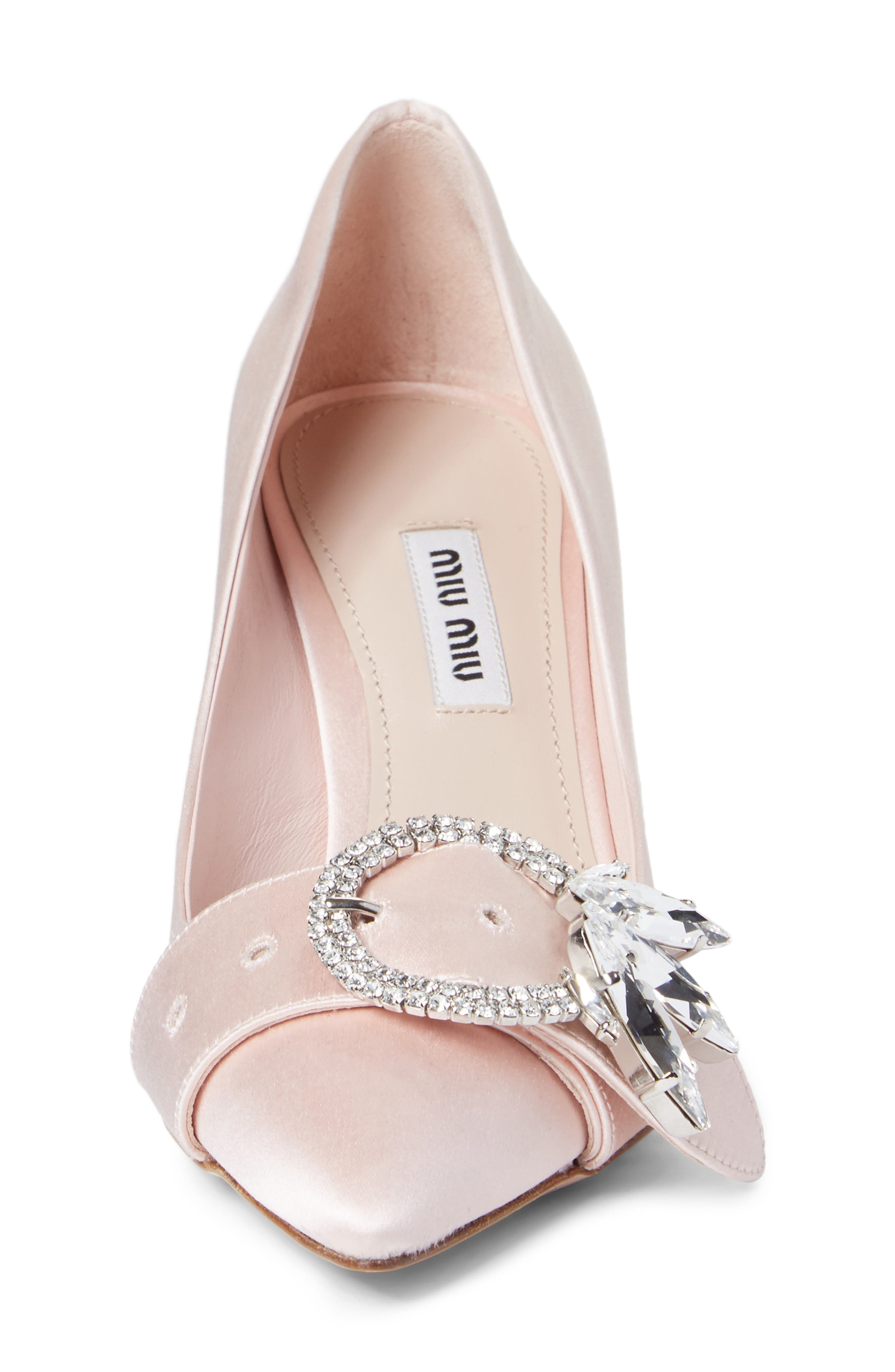 Crystal Buckle Pump,                             Alternate thumbnail 4, color,                             Pink Satin
