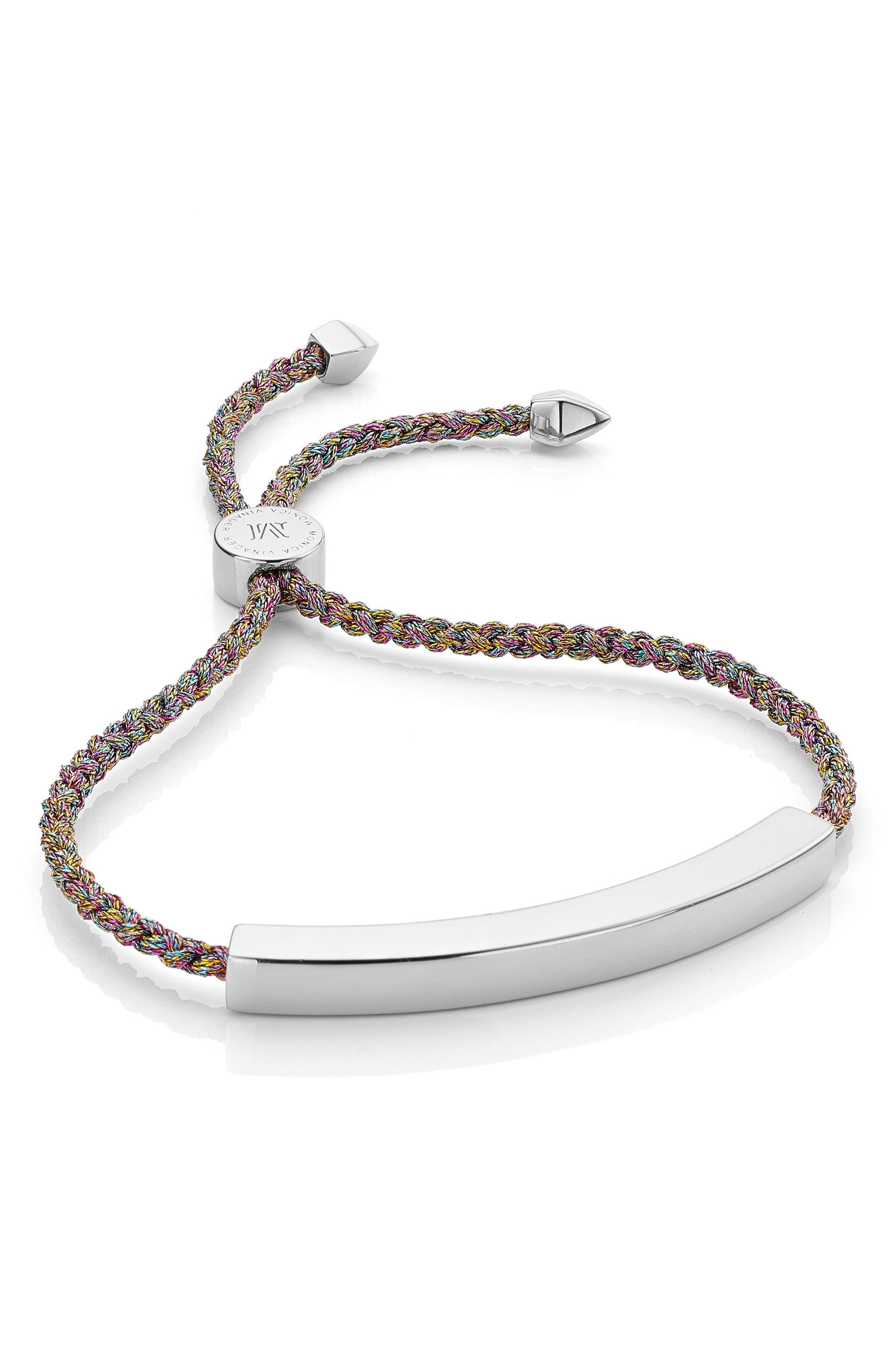 Large Linear Friendship Bracelet,                         Main,                         color, Rainbow Metallic/ Silver