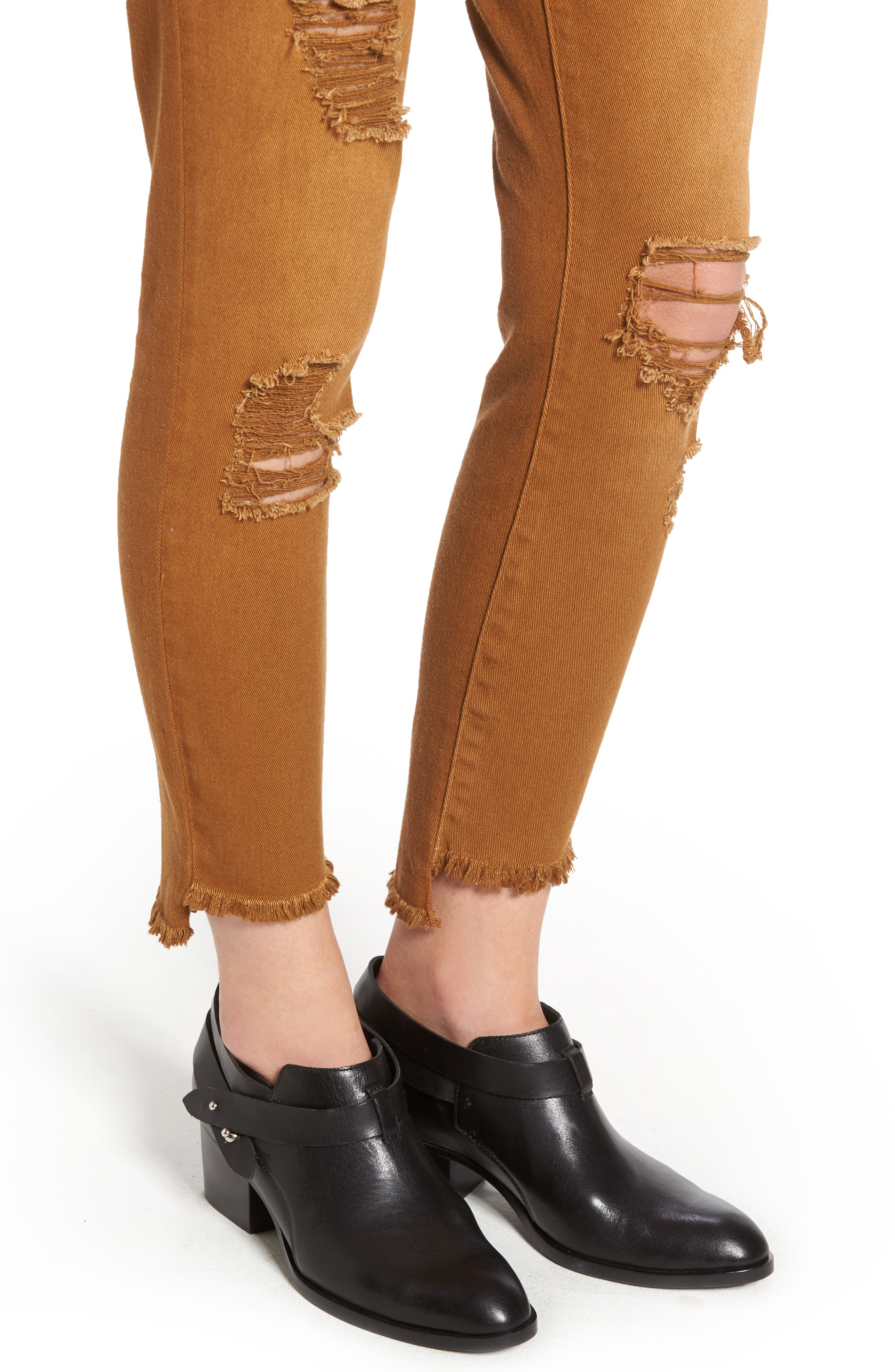 Step Hem Skinny Jeans,                             Alternate thumbnail 4, color,                             Cinnamon