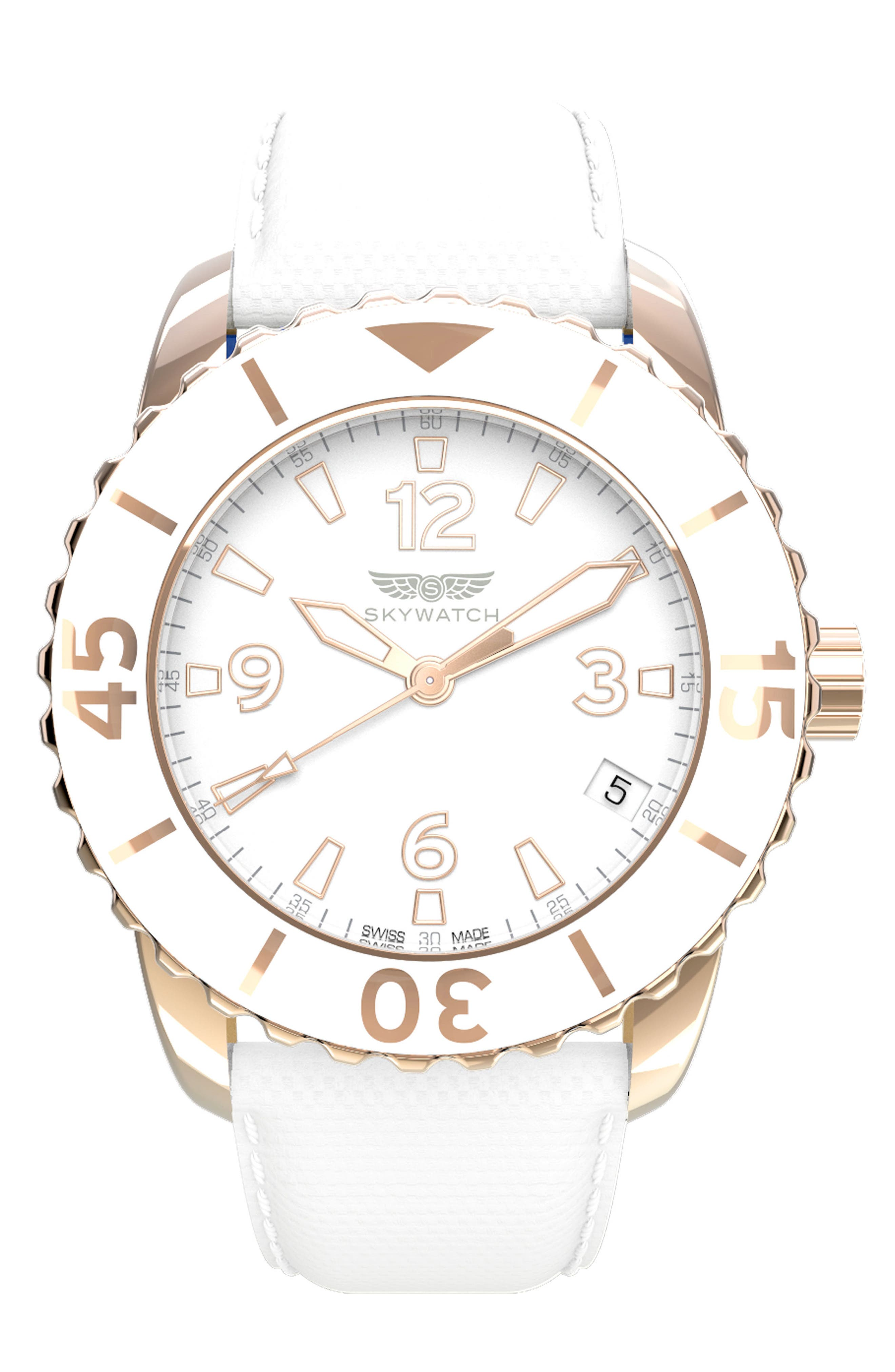 Classic Woven Strap Watch, 38mm,                         Main,                         color, White/ White