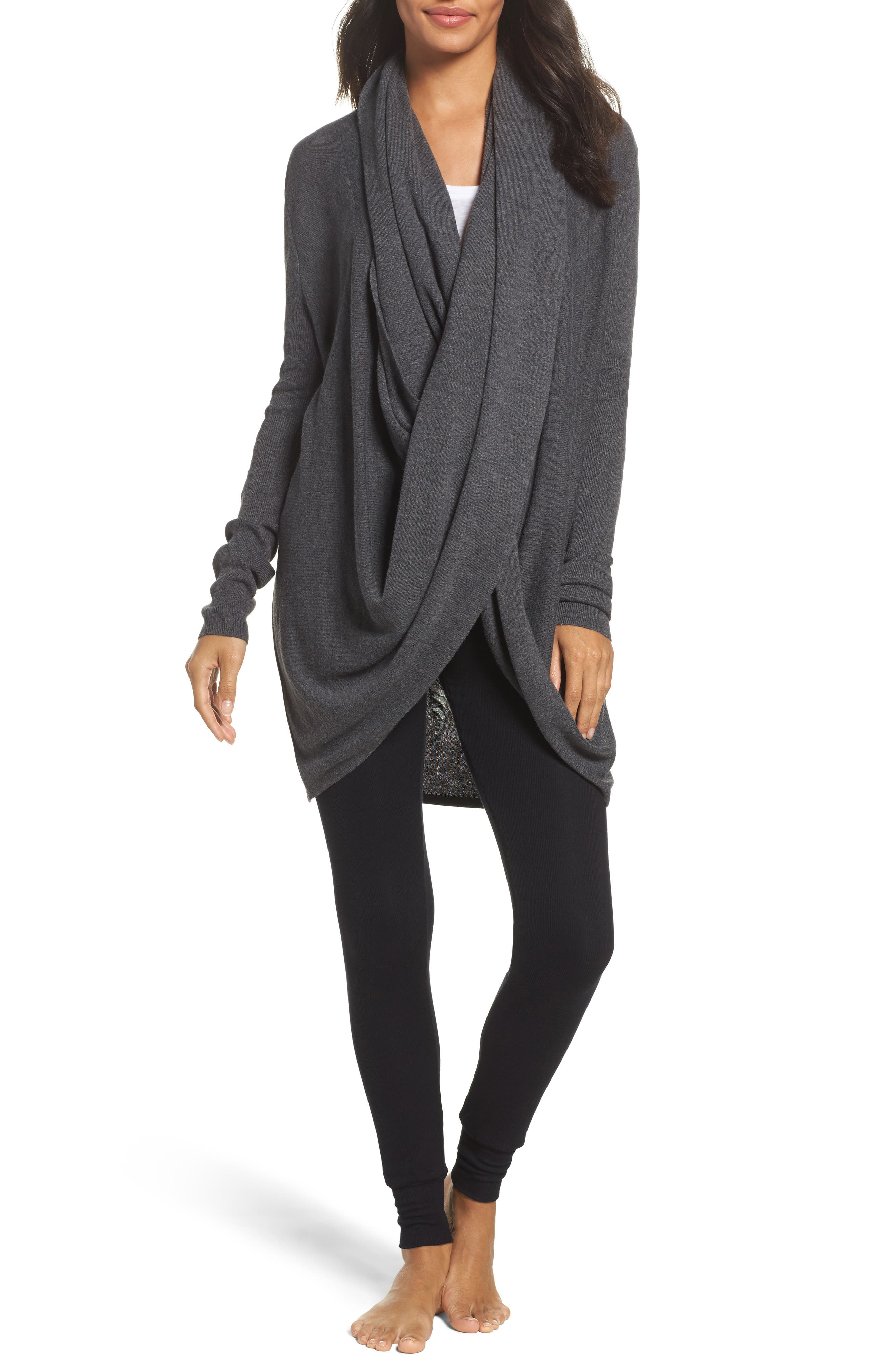 LongWrap Cardigan,                         Main,                         color, Grey Charcoal Heather