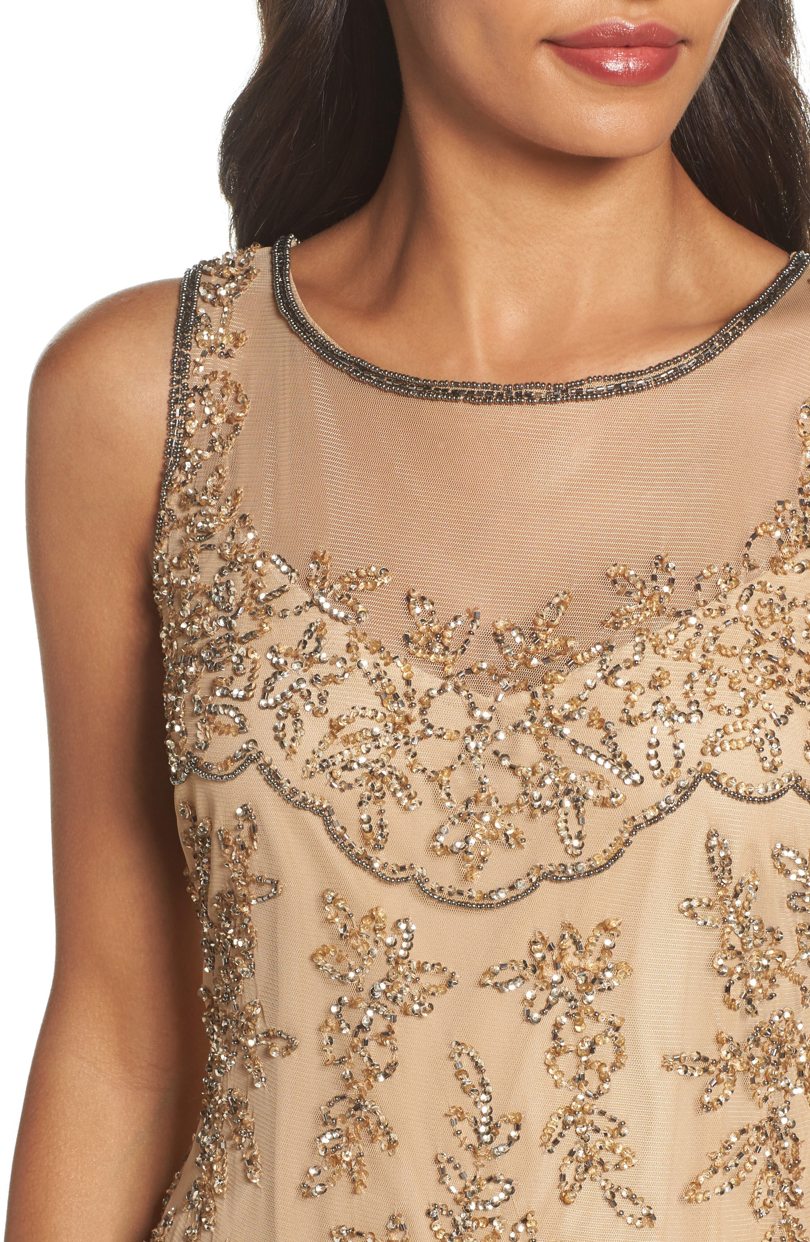 Embellished Dress,                             Alternate thumbnail 4, color,                             Champagne