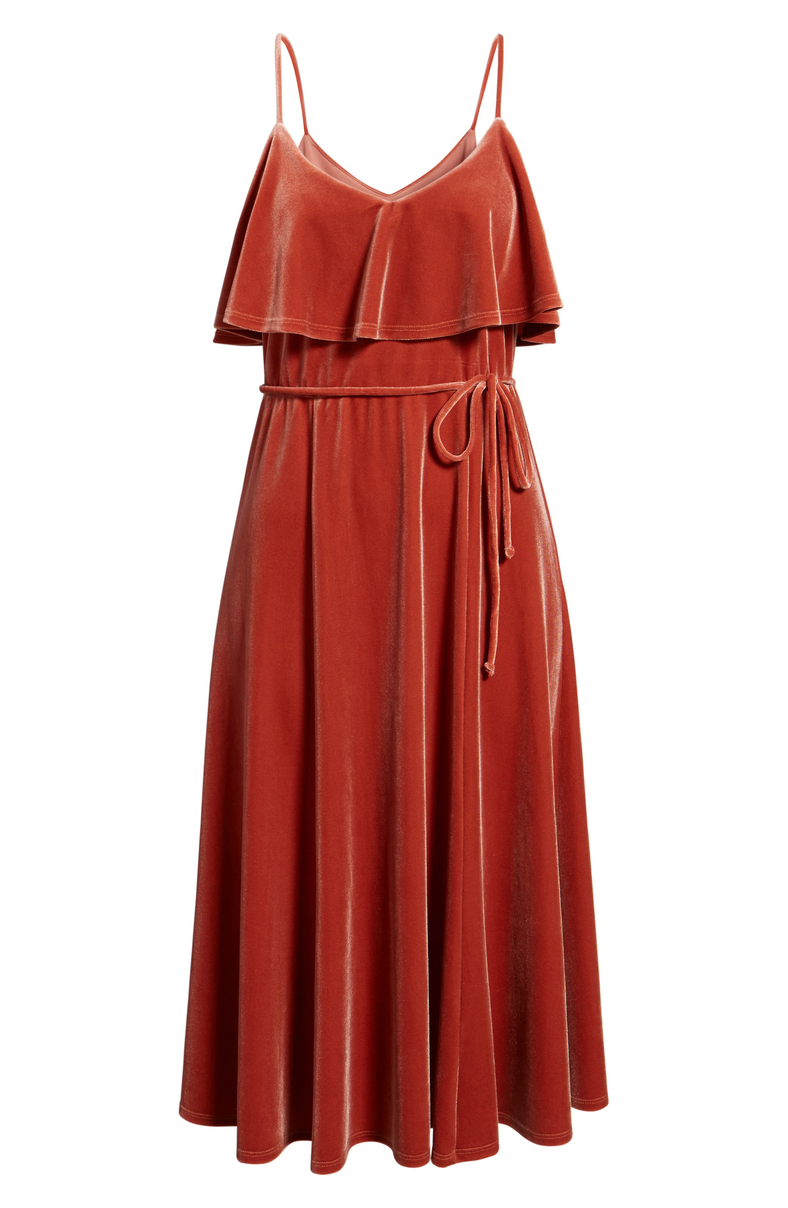 Velvet Midi Dress,                             Alternate thumbnail 6, color,                             Rust Marsala