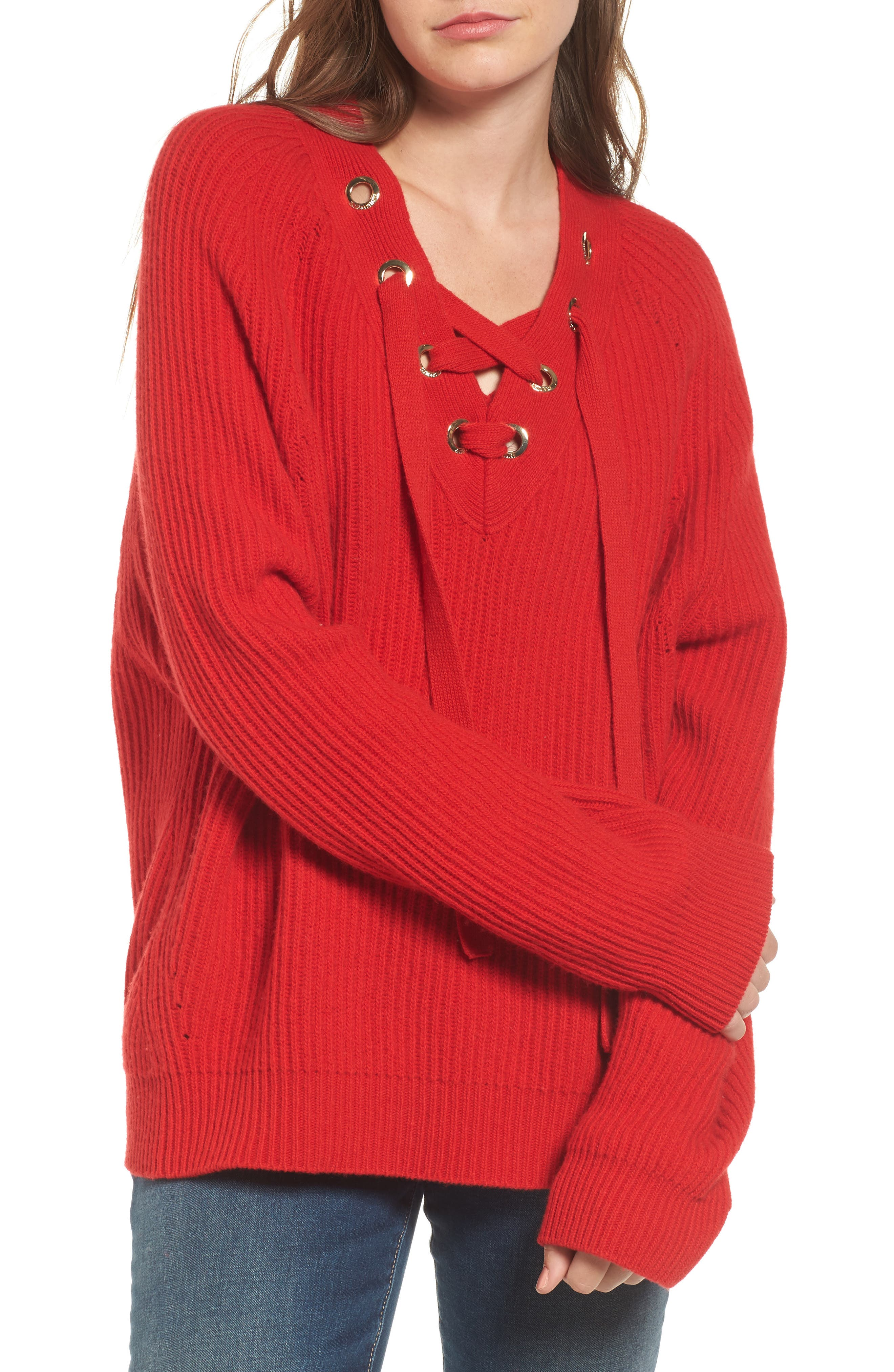 Kassy Wool Blend Sweater,                             Main thumbnail 1, color,                             Rouge