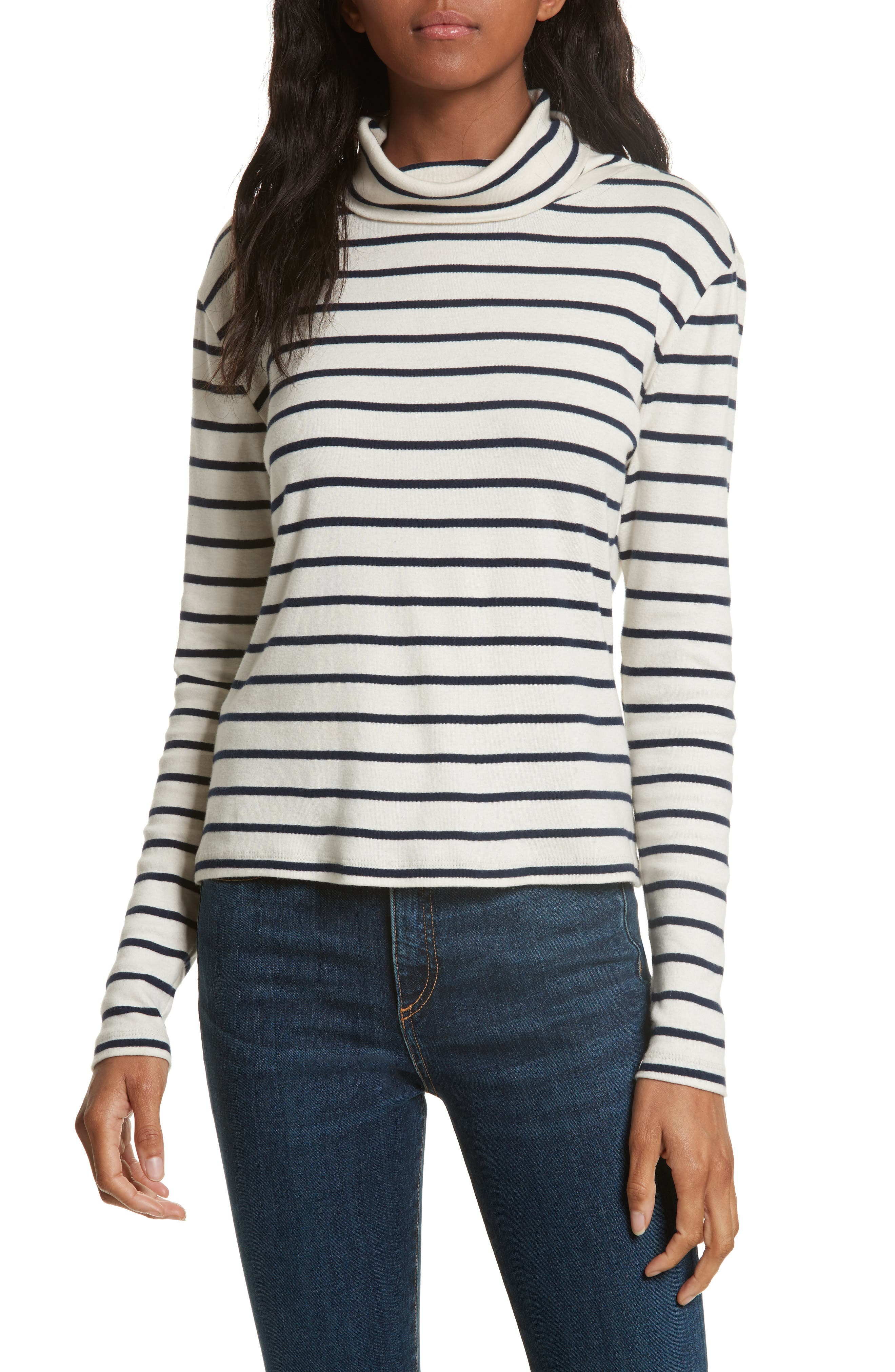 Audrey Stripe Turtleneck Top,                         Main,                         color, Cream/ Navy