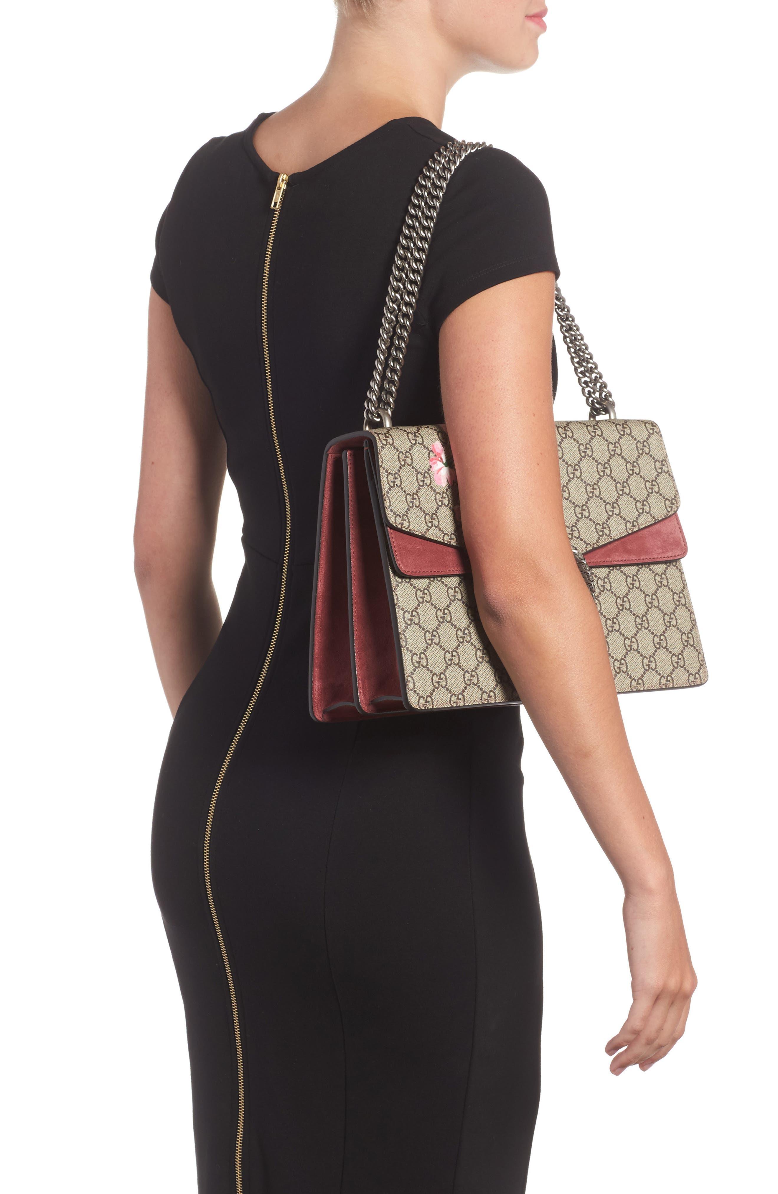 Alternate Image 2  - Gucci Large Floral GG Supreme Canvas & Suede Shoulder Bag