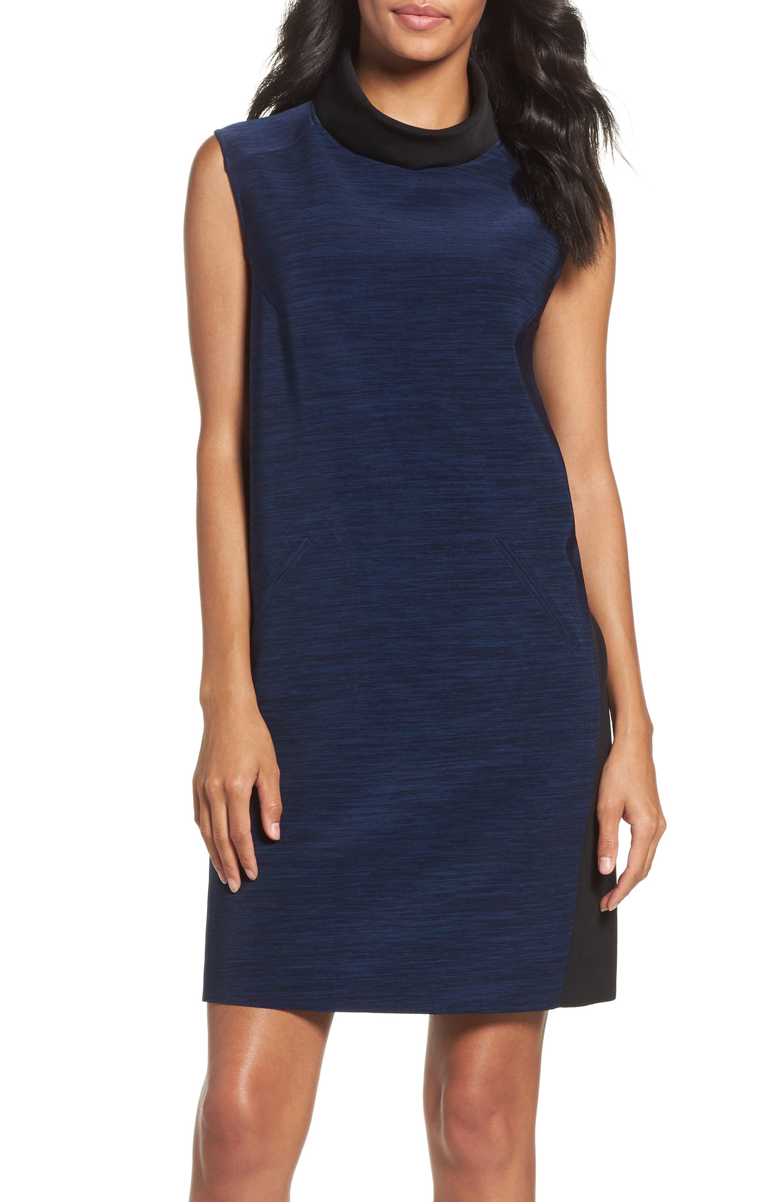 Main Image - Tahari Turtleneck Shift Dress (Regular & Petite)