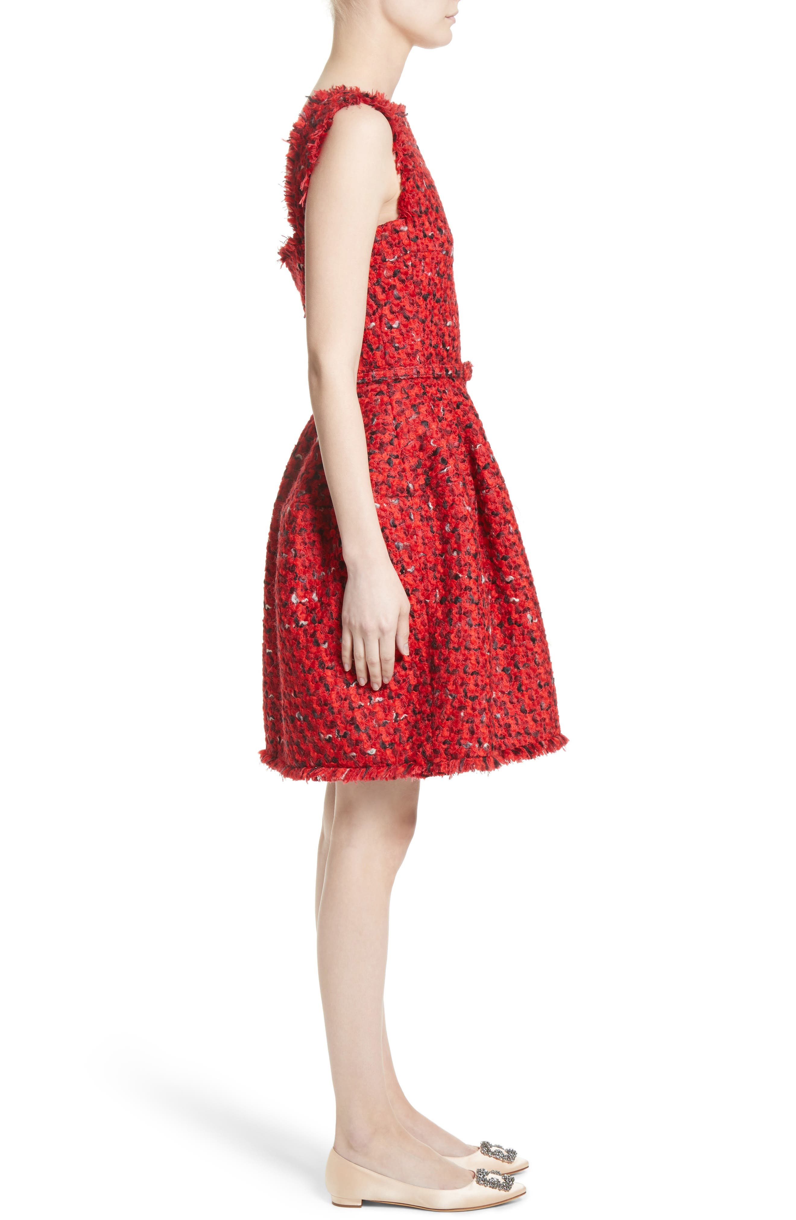 Belted Tweed Dress,                             Alternate thumbnail 6, color,                             Red Multi