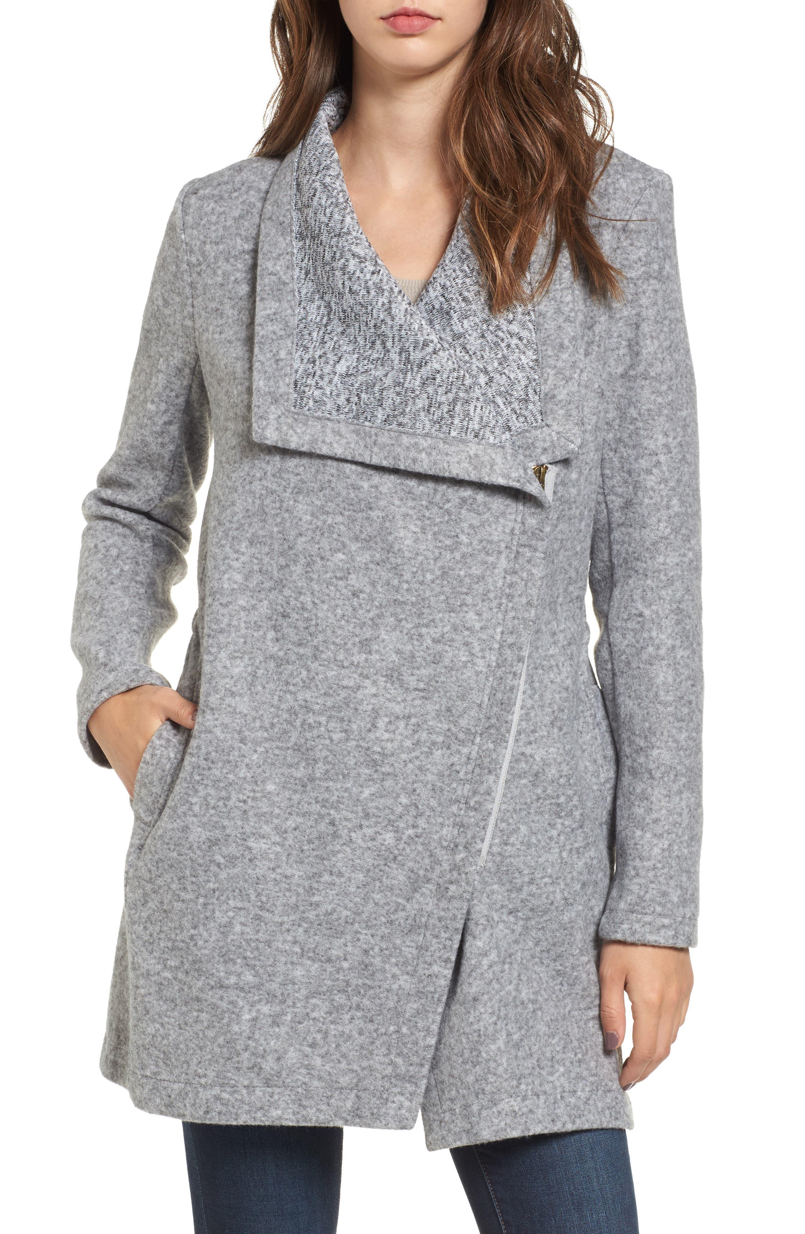 BB Dakota Maggie Brushed Fleece Drape Collar Coat