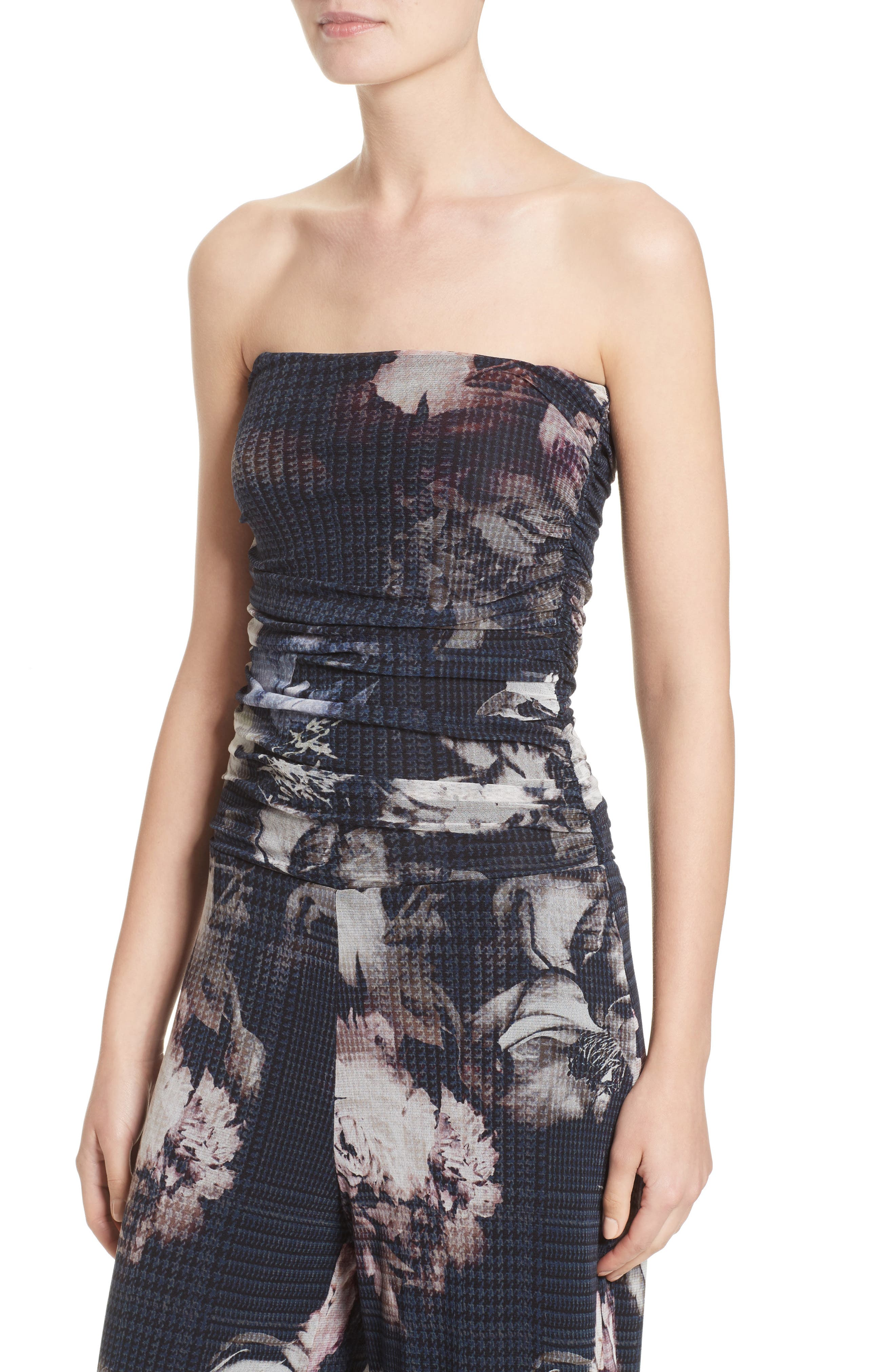 Alternate Image 6  - Fuzzi Floral Print Tulle Strapless Jumpsuit