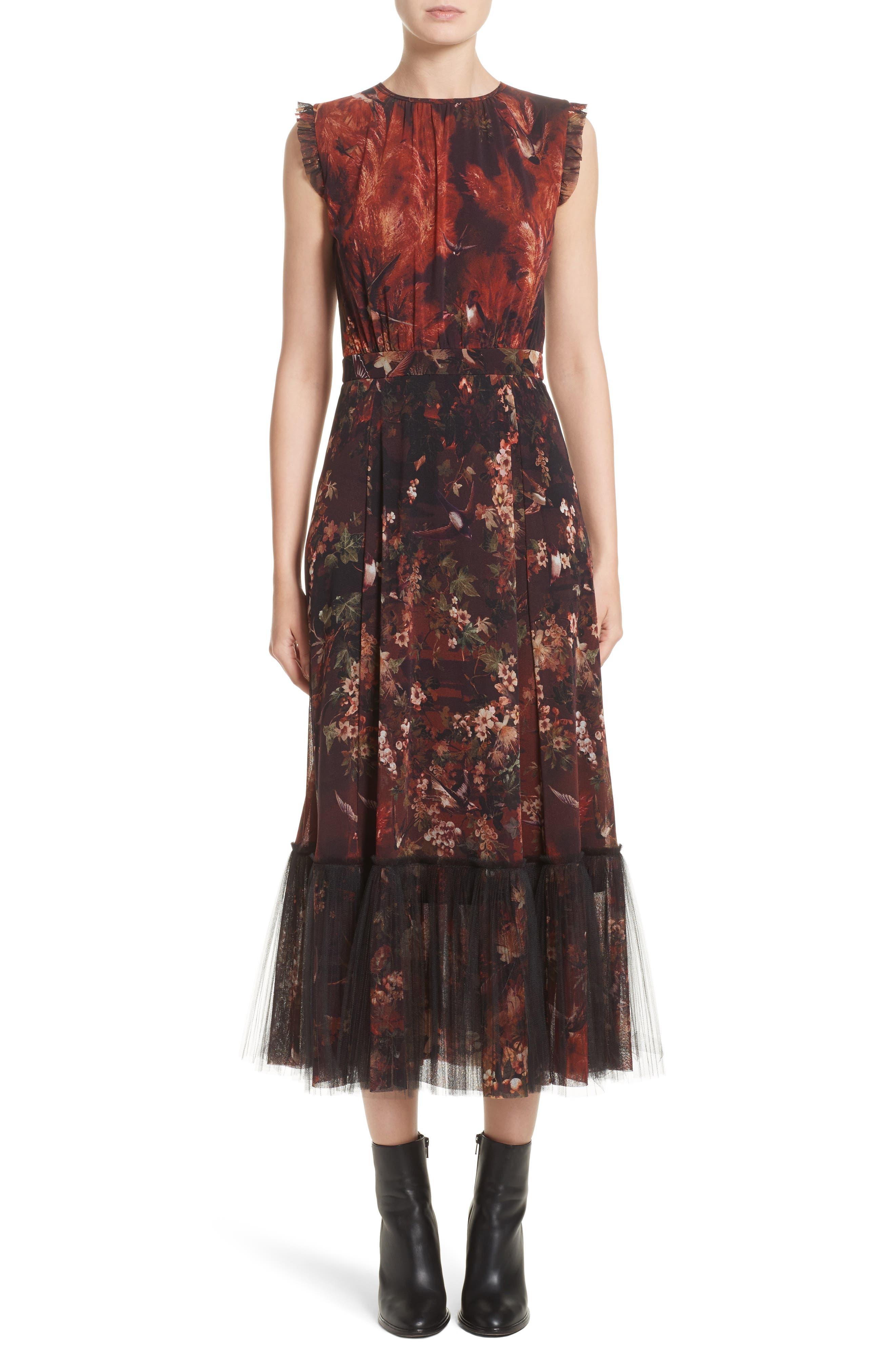 Fuzzi Print Tulle Plissé Hem Midi Dress