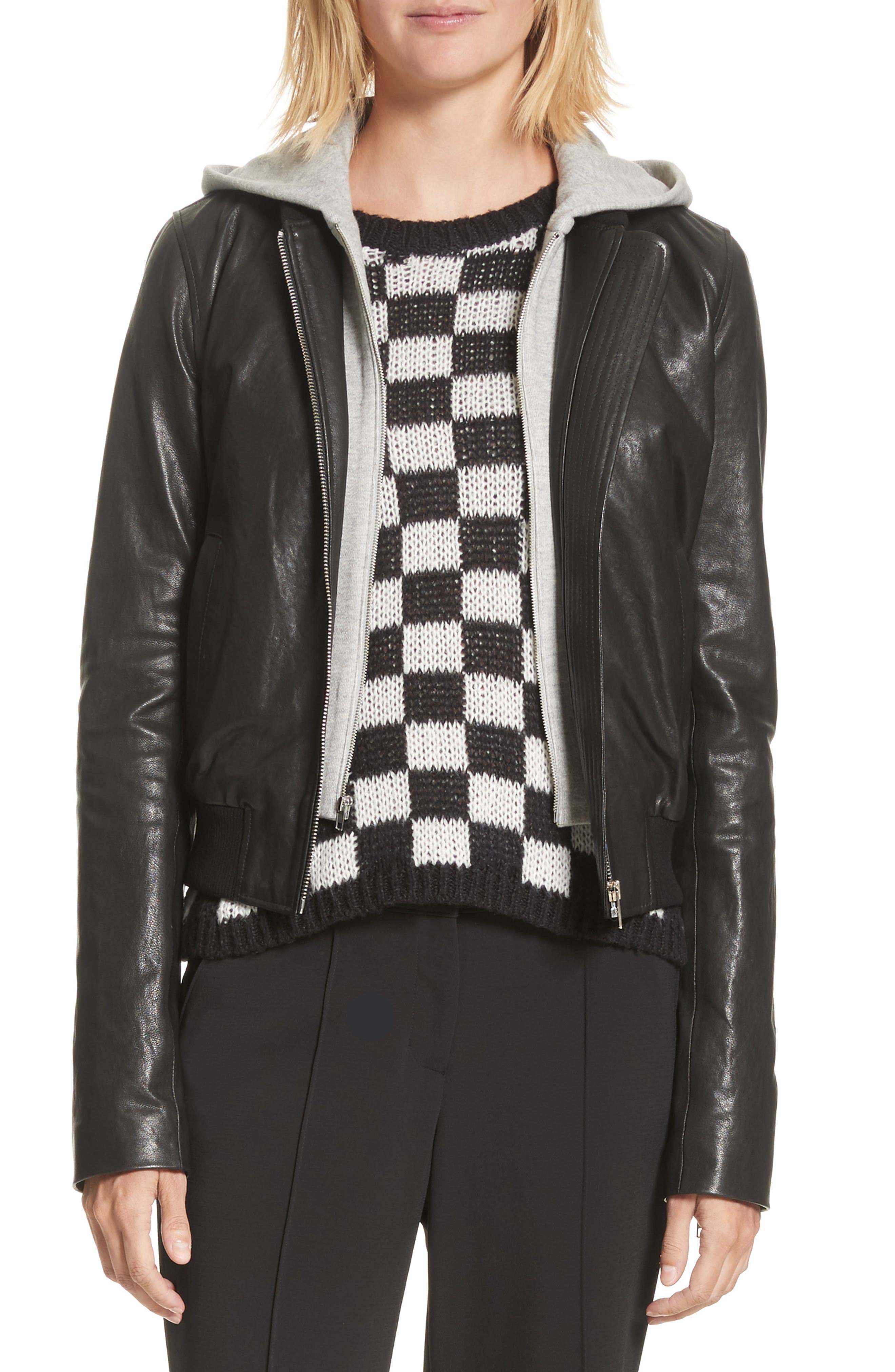 Edison Leather Jacket with Removable Hooded Inset,                         Main,                         color, Black