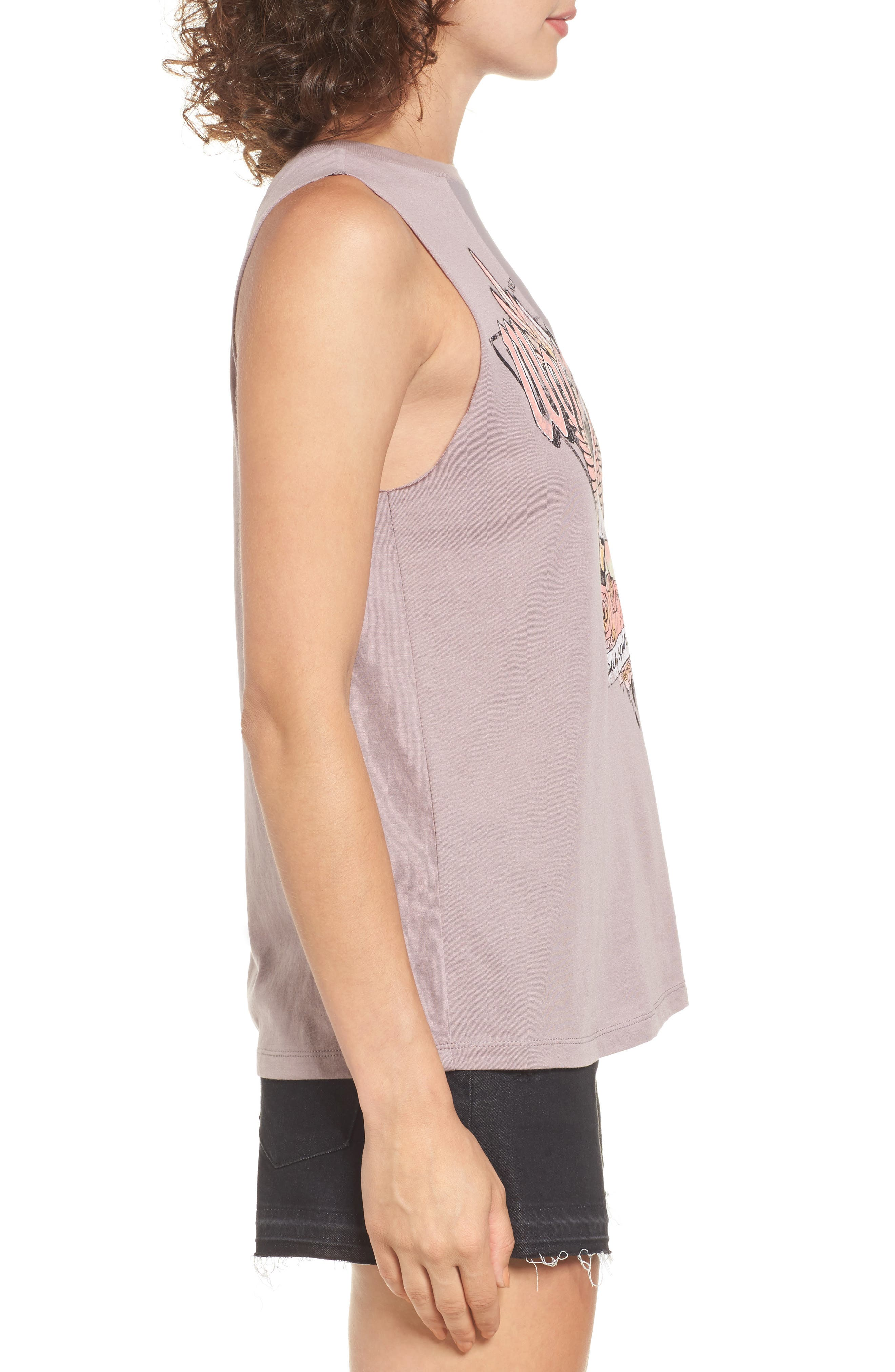 Mesh Inset Graphic Muscle Tee,                             Alternate thumbnail 3, color,                             Purple Peace