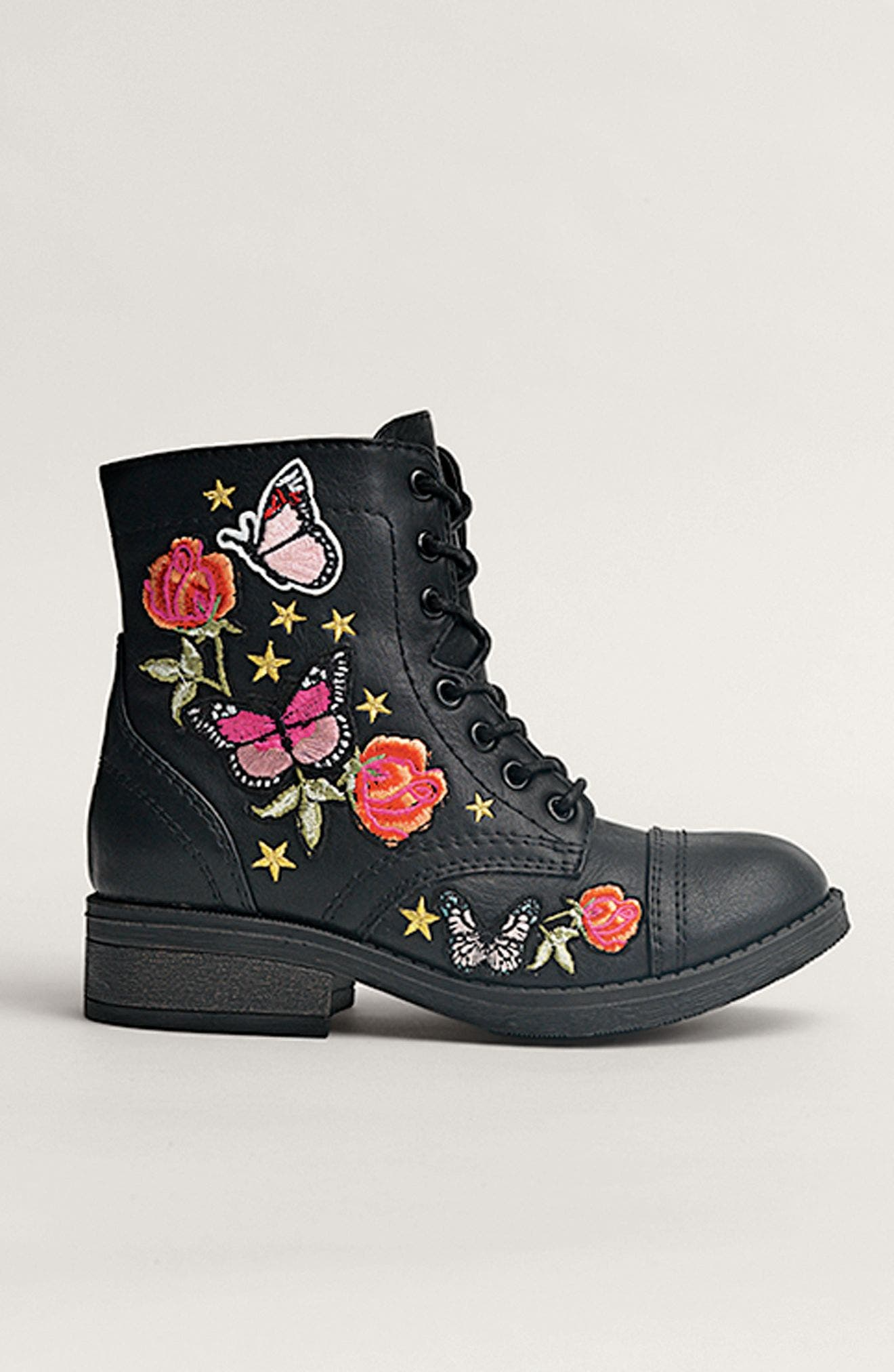 Roaring Embroidered Combat Boot,                             Alternate thumbnail 7, color,
