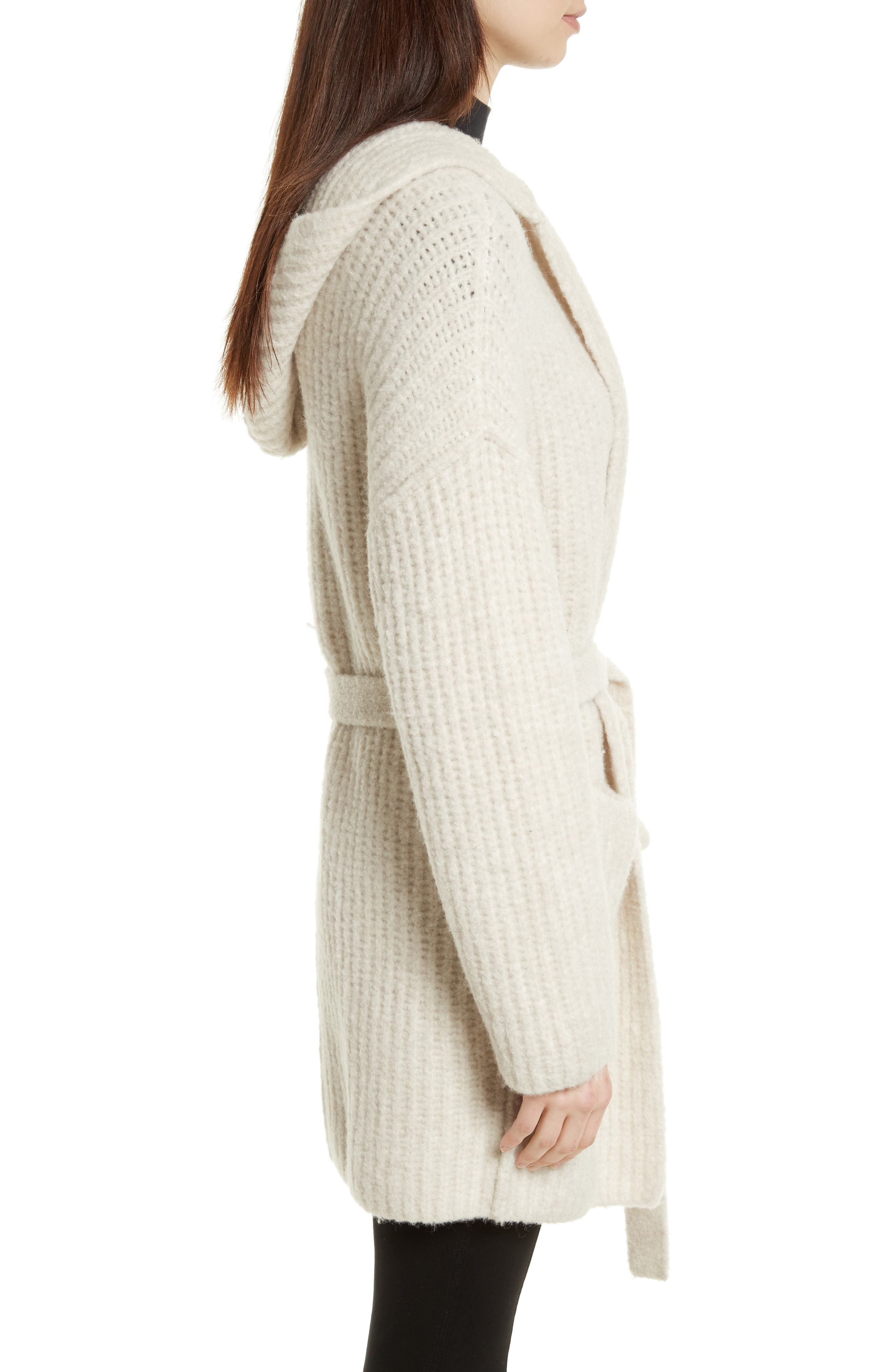 Hooded Sweater Coat,                             Alternate thumbnail 4, color,                             Dusty Ivory