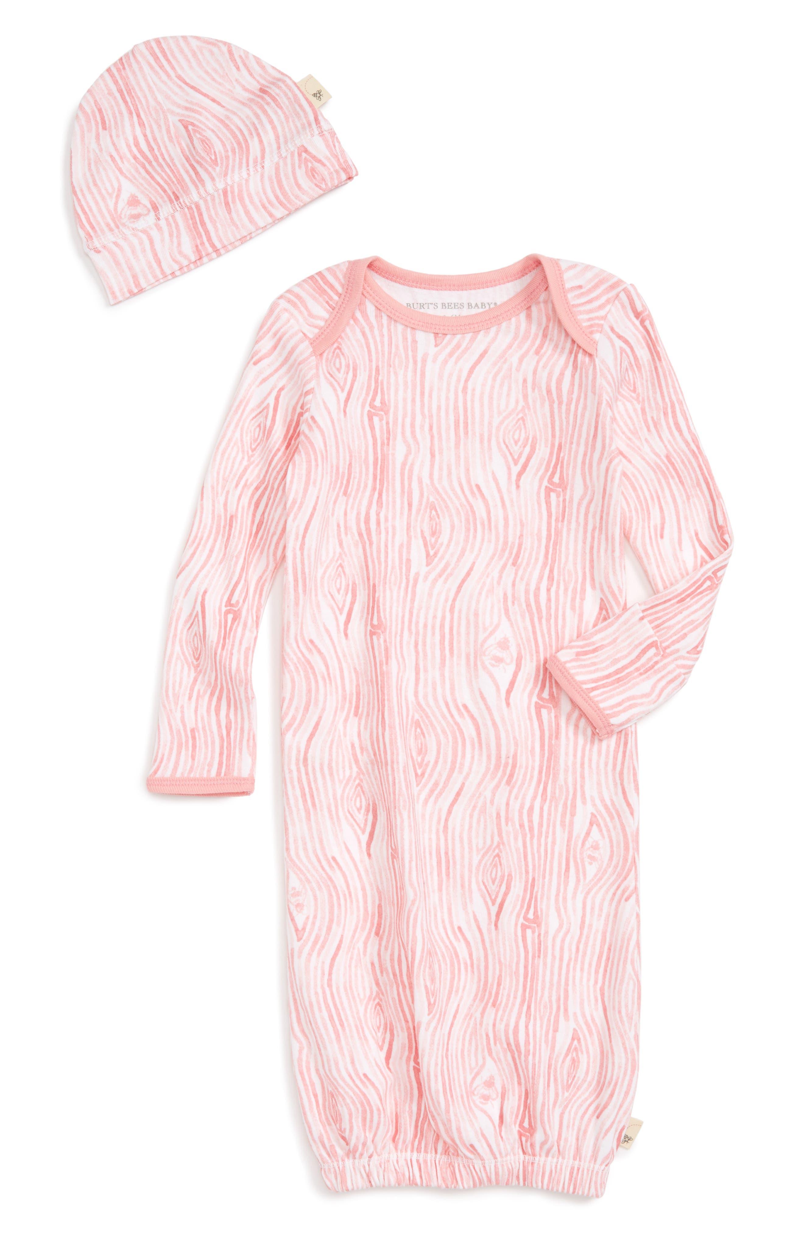 Burt's Bees Baby Watercolor Organic Cotton Gown & Hat Set (Baby Girls)