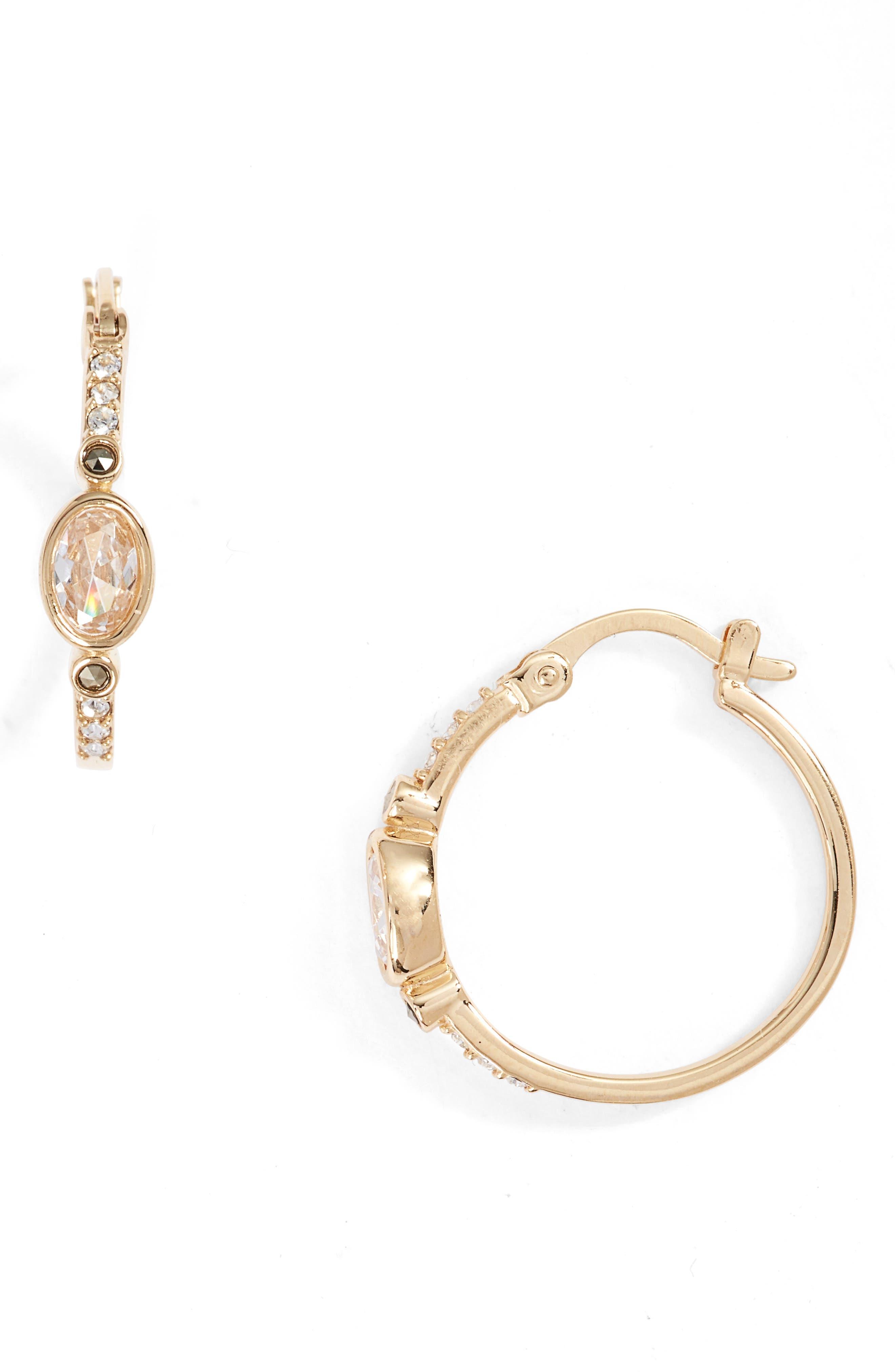 JUDITH JACK Semiprecious Stone Hoop Earrings
