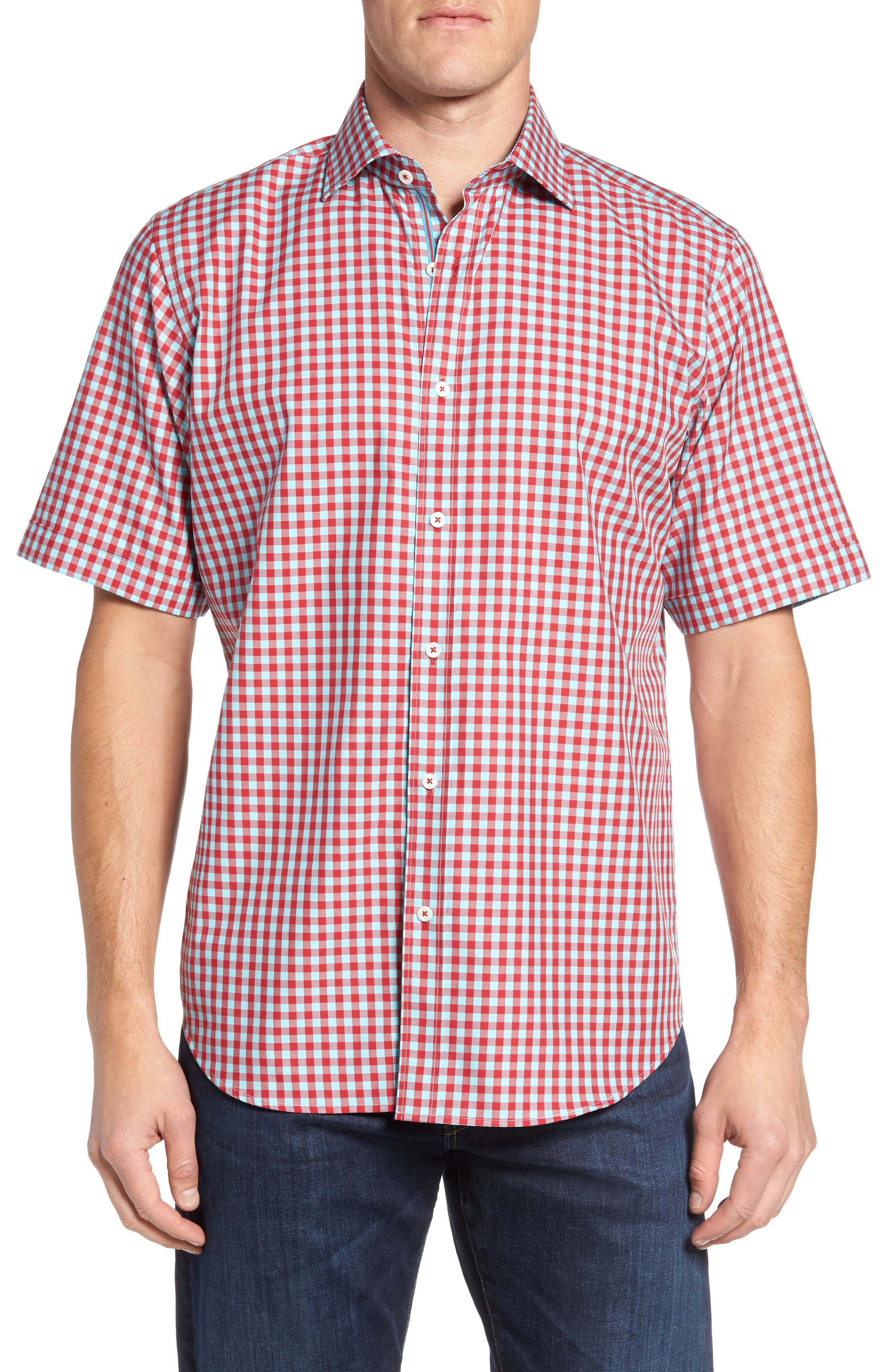 Classic Fit Gingham Short Sleeve Sport Shirt,                             Main thumbnail 1, color,                             Ruby