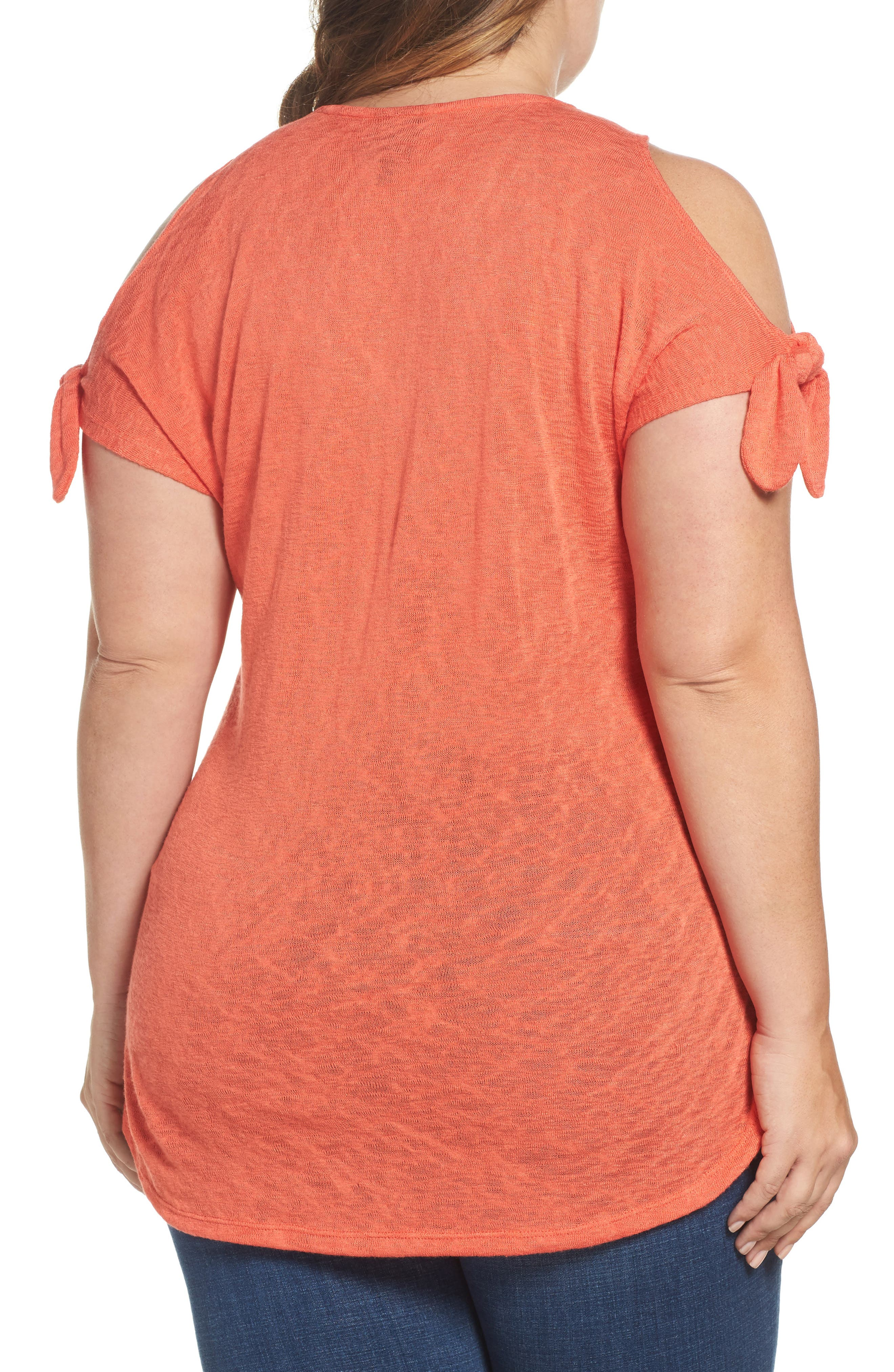 Tassel Trim Slub Knit Top,                             Alternate thumbnail 2, color,                             Orange