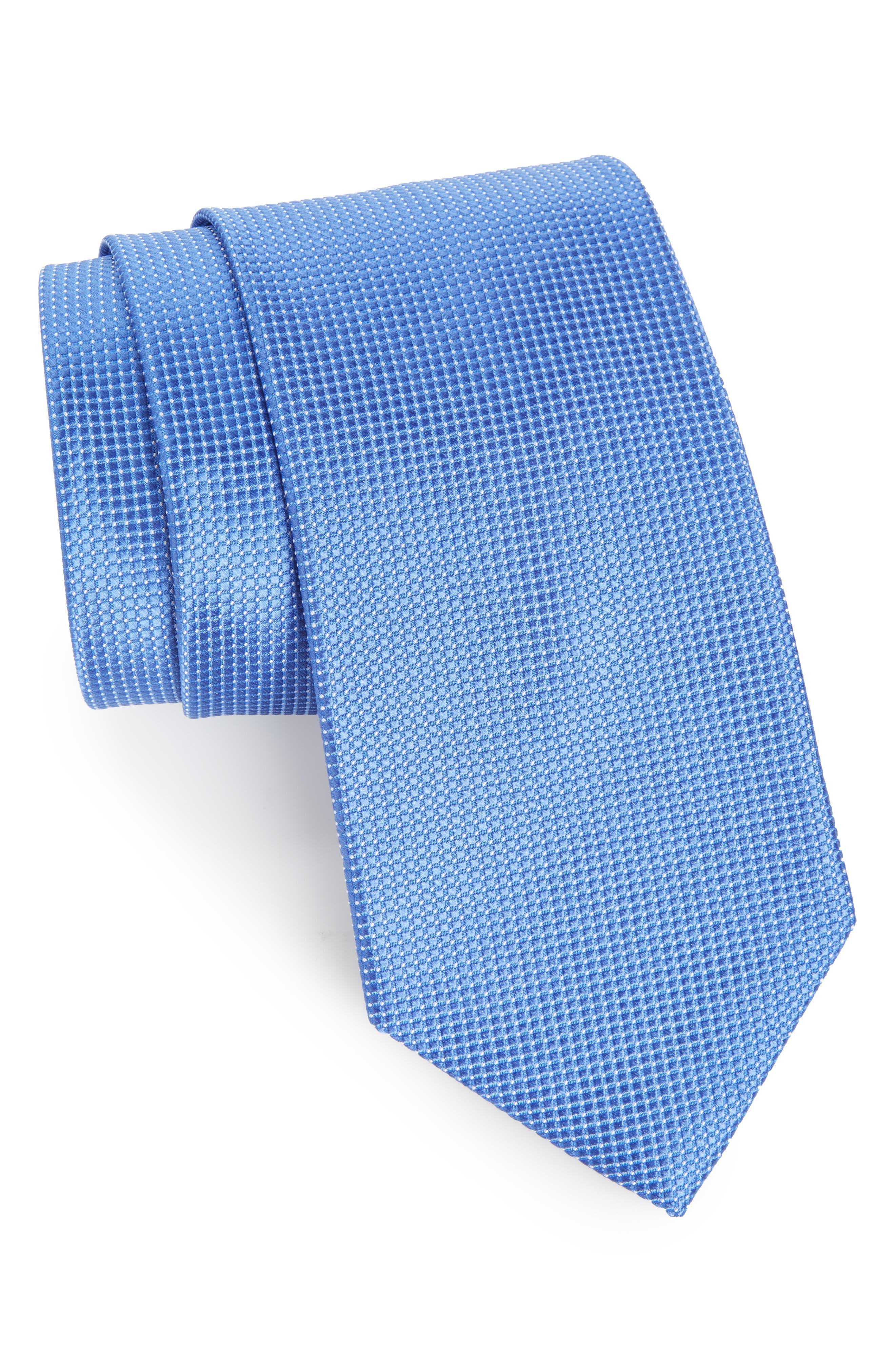 Micro Pin Dot Silk Tie,                             Main thumbnail 1, color,                             Blue