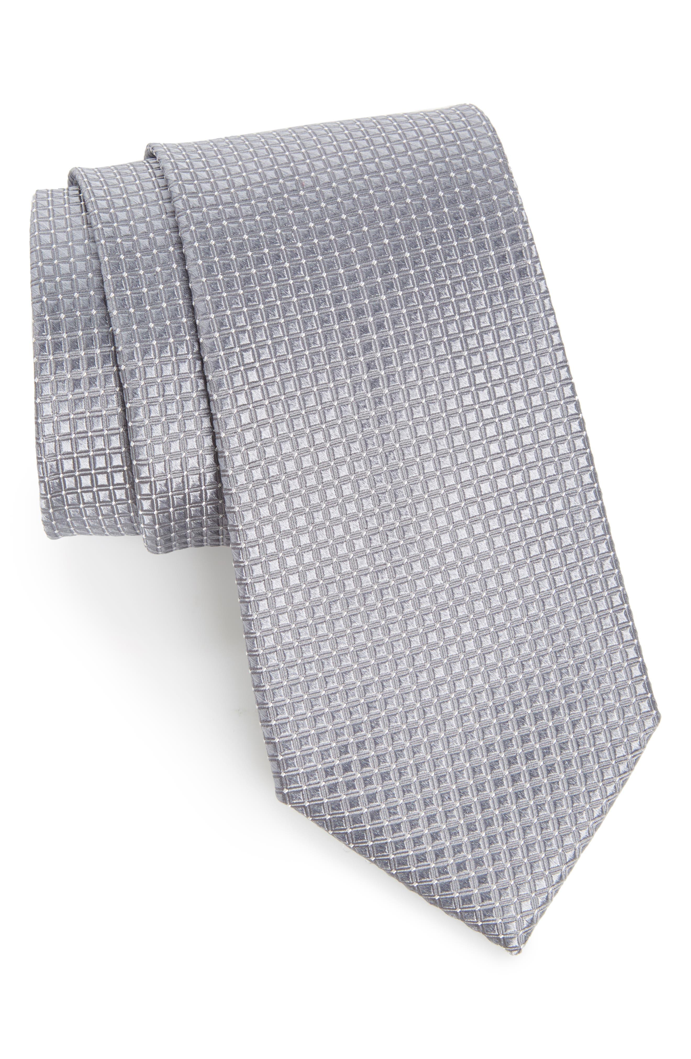 Geometric Silk Tie,                         Main,                         color, Gray