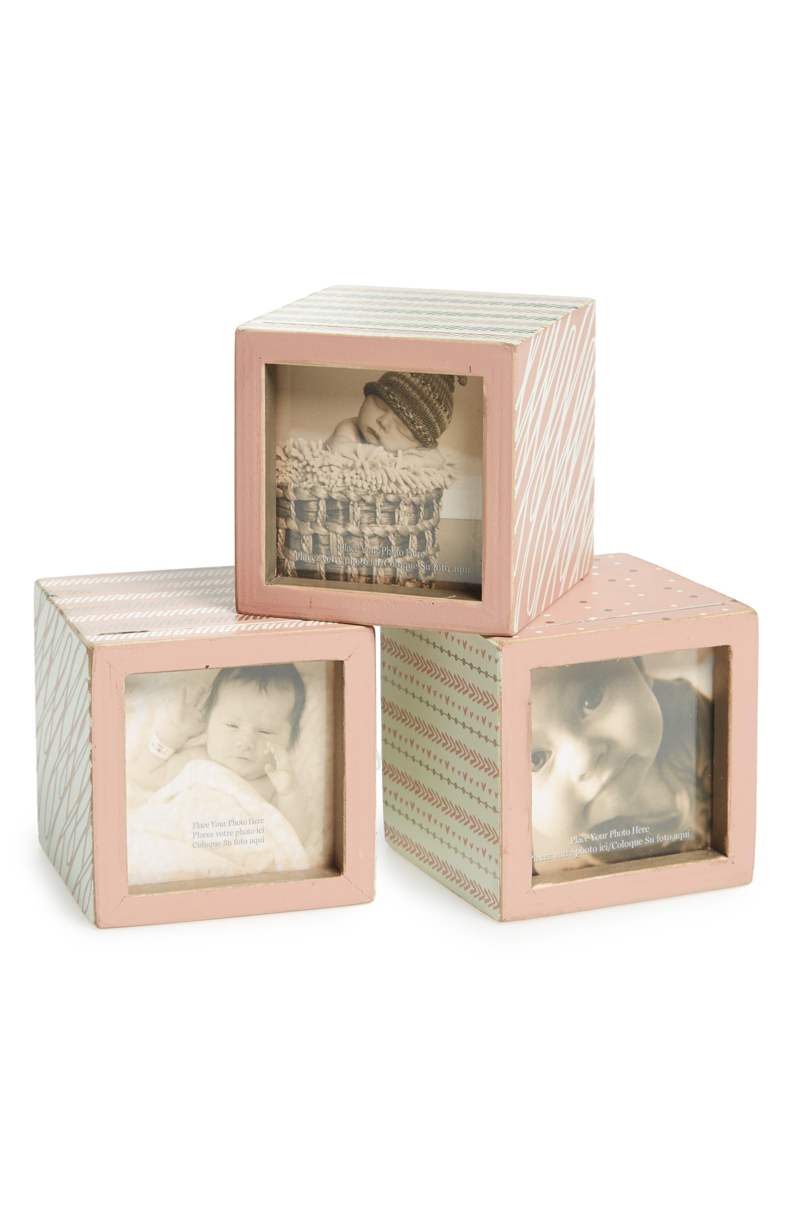 Set of 3 Photo Blocks,                         Main,                         color, Pink