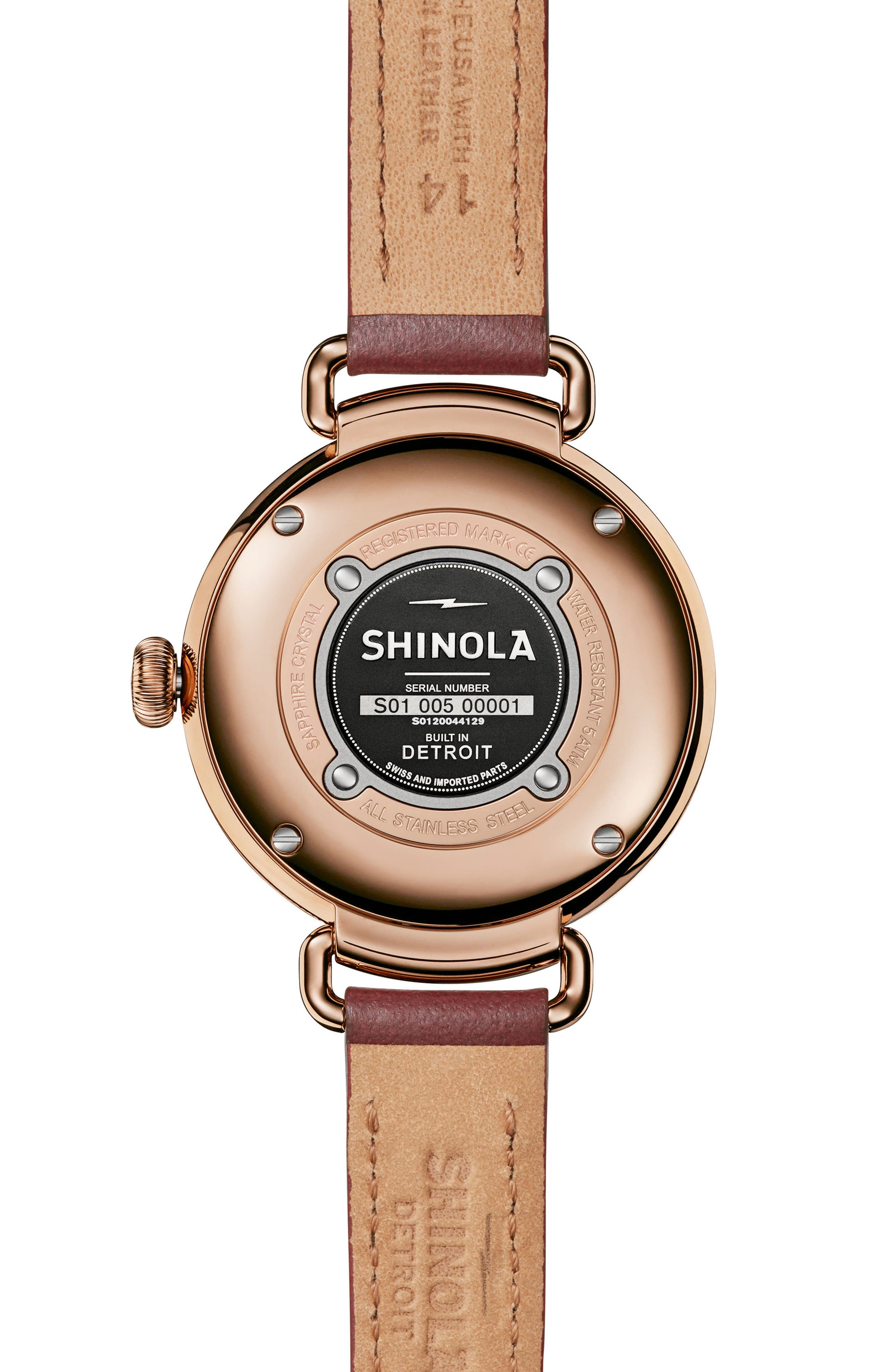 The Canfield Alligator Strap Watch, 38mm,                             Alternate thumbnail 2, color,                             Red/ Rose Gold