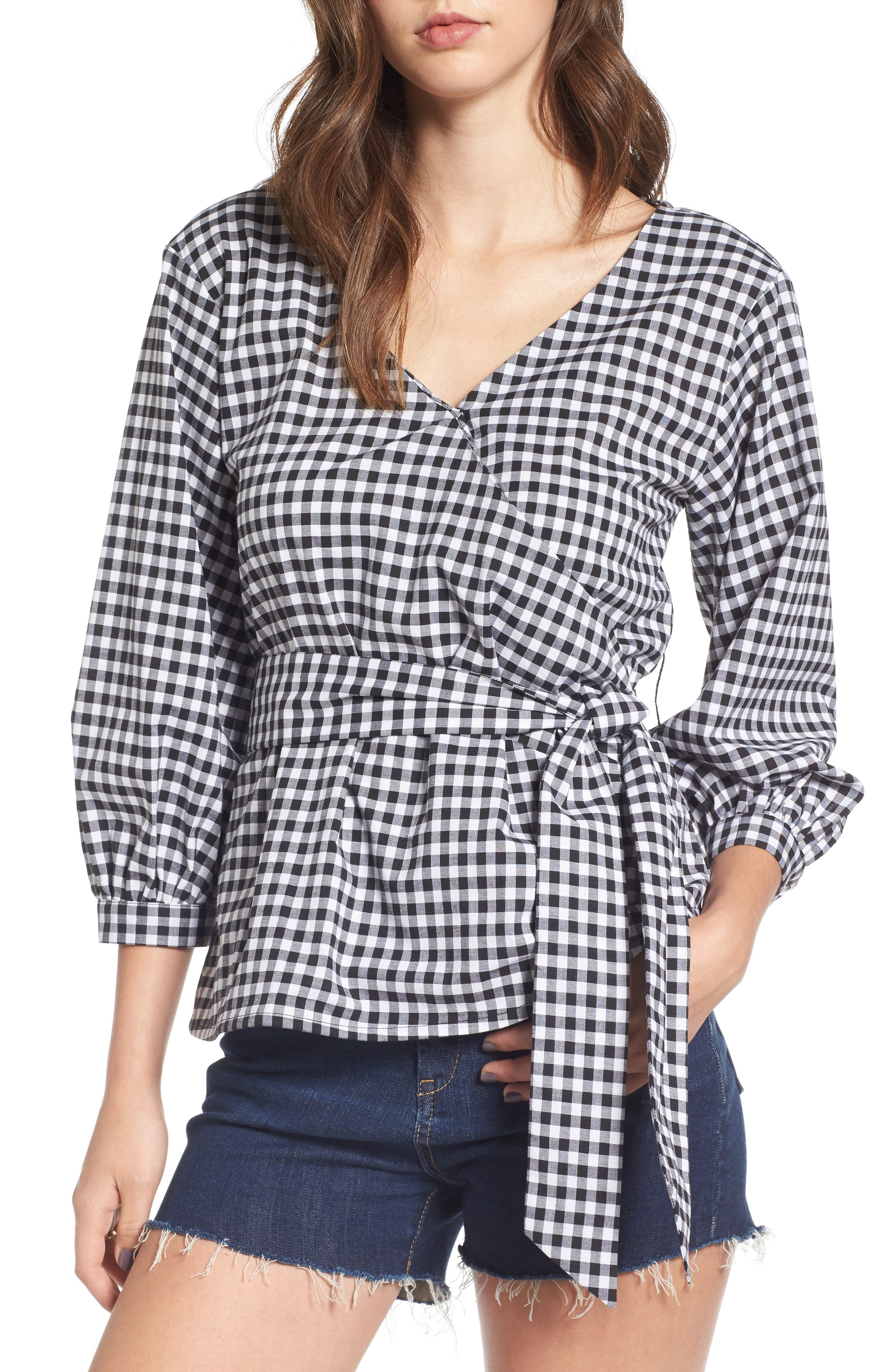 Love, Fire Gingham Wrap Blouse