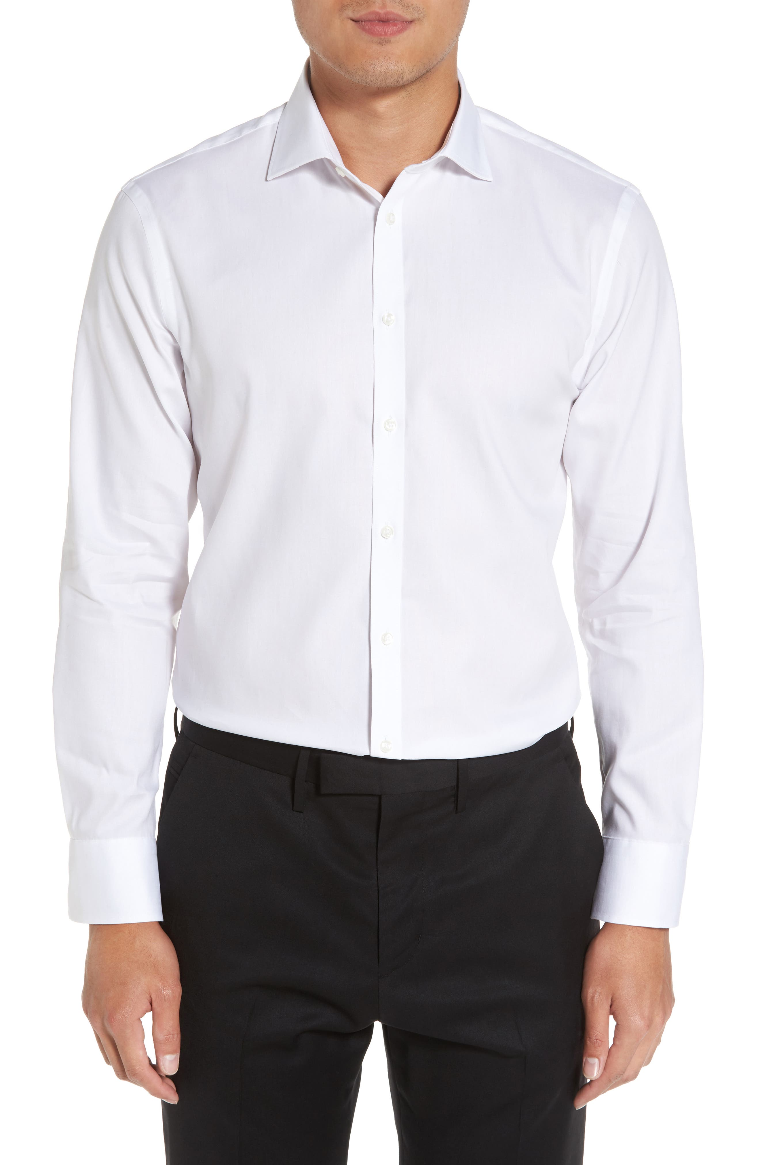Alternate Image 2  - Nordstrom Men's Shop Extra Trim Fit Non-Iron Solid Dress Shirt