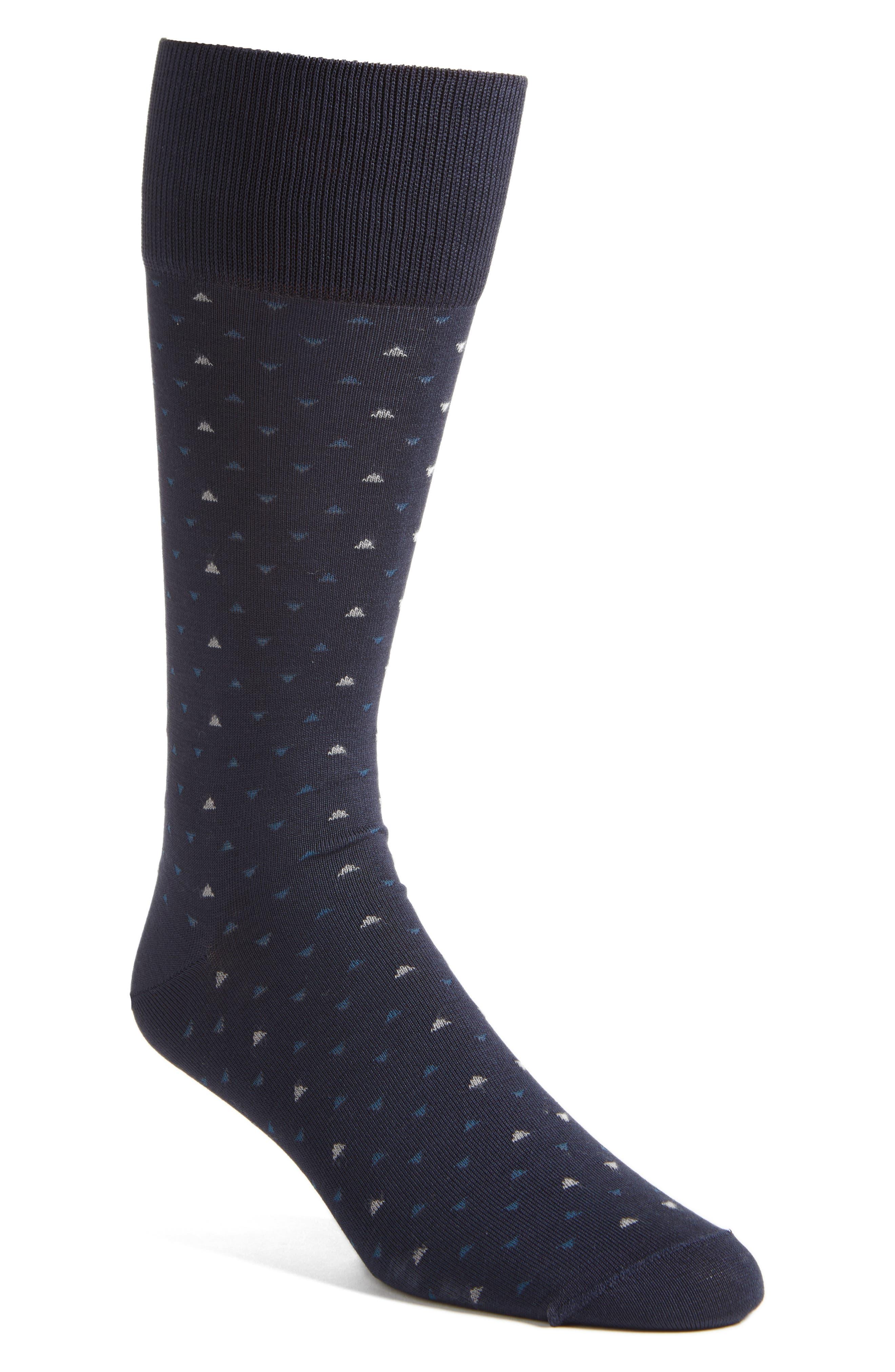 Geometric Socks,                             Main thumbnail 1, color,                             Navy/ Taupe