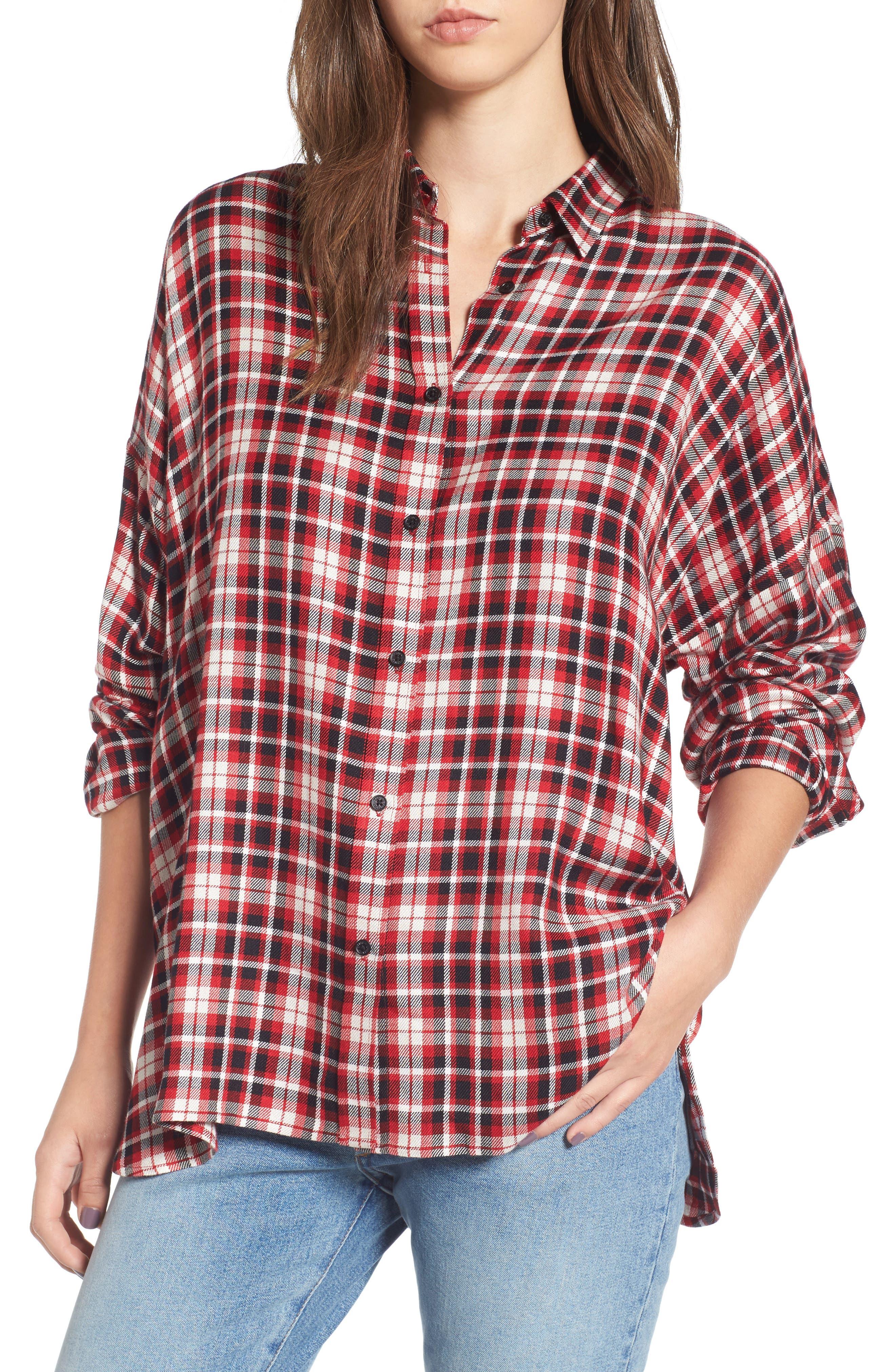 Tamara Car Plaid Shirt,                         Main,                         color, Rouge