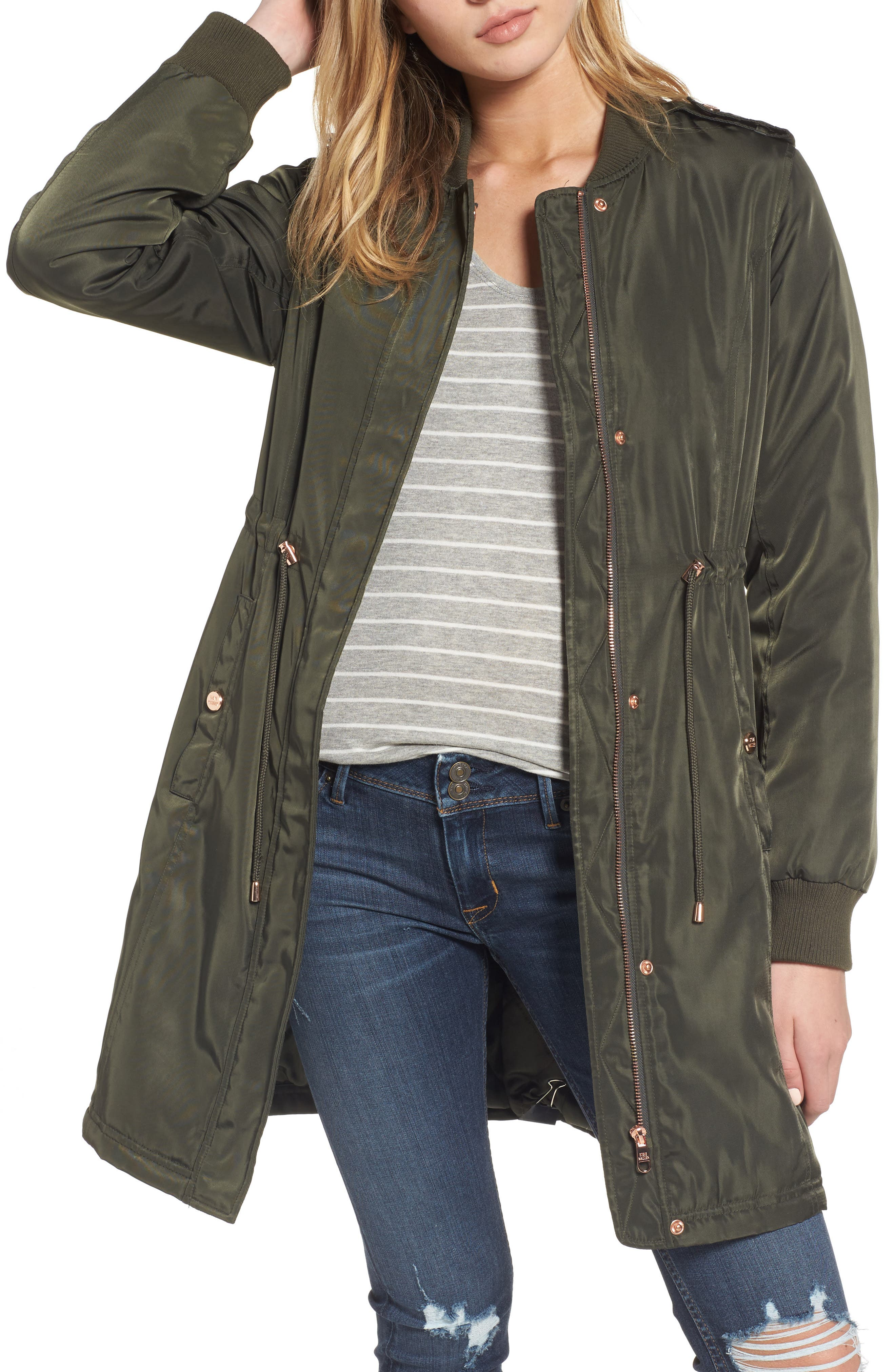 Alternate Image 1 Selected - Steve Madden Drawstring Waist Anorak