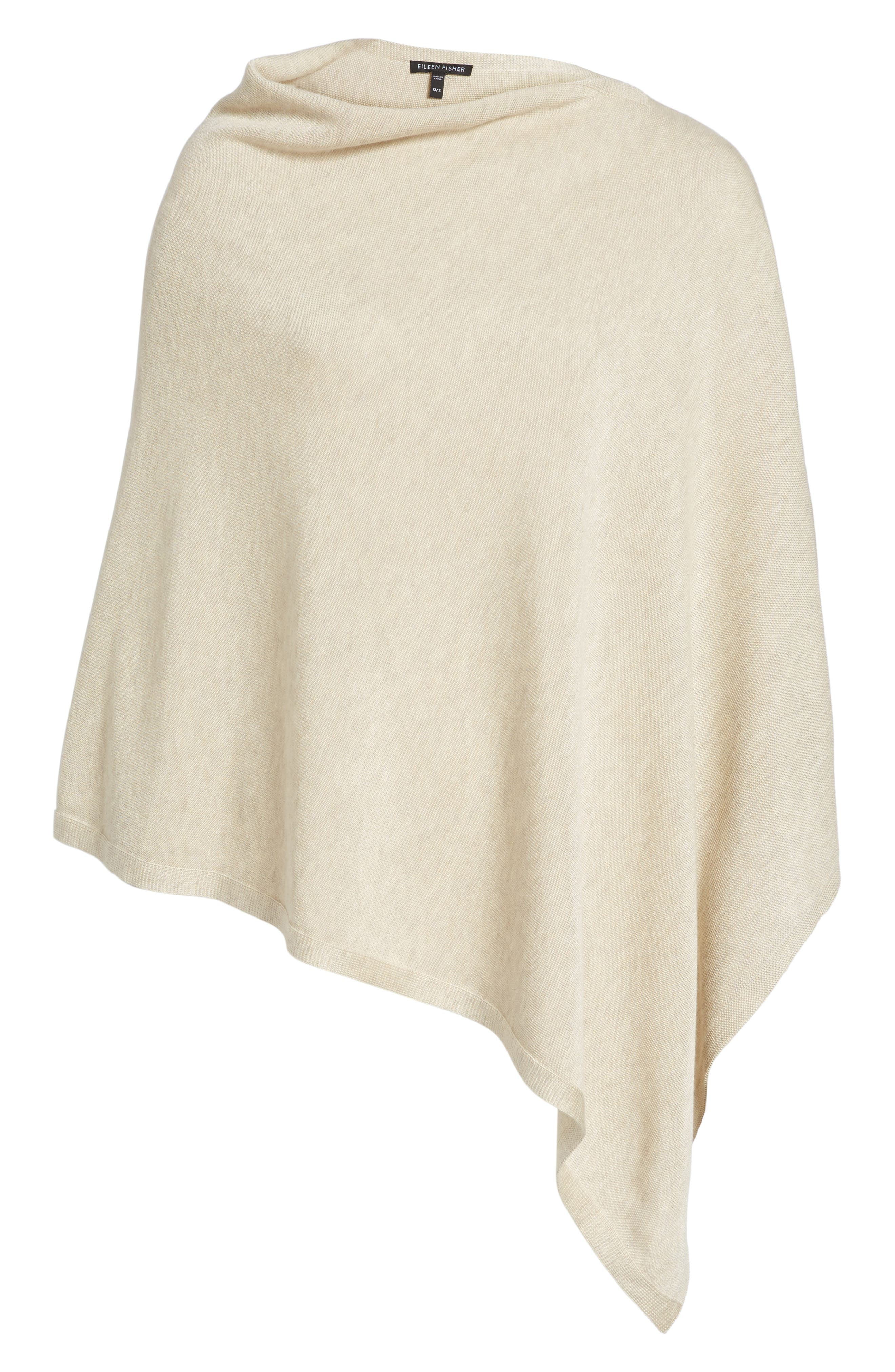 Tencel<sup>®</sup> & Wool Poncho,                             Alternate thumbnail 6, color,                             Maple Oat