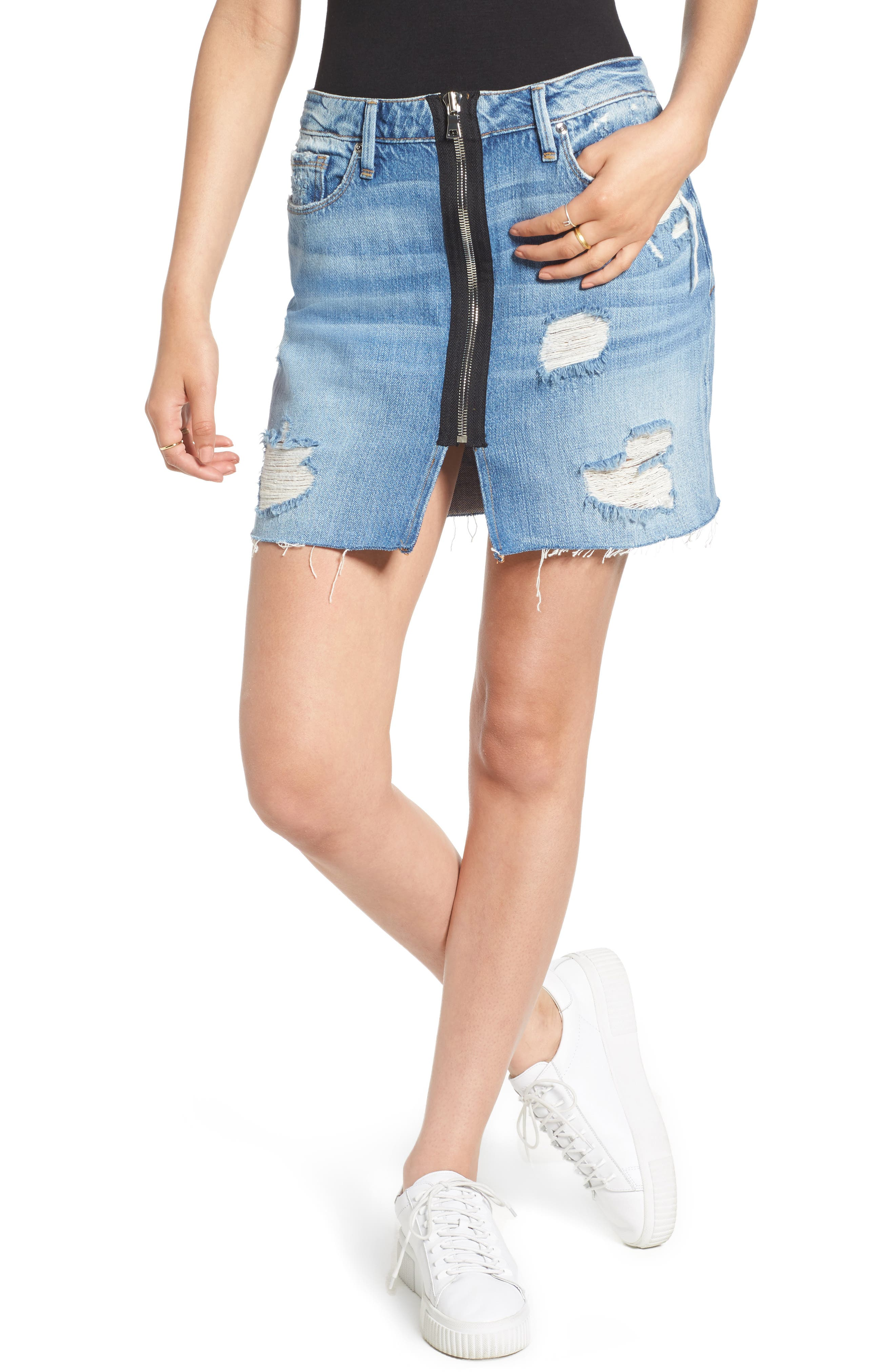 Good American Zip Front Ripped Miniskirt (Blue 077) (Extended Sizes)