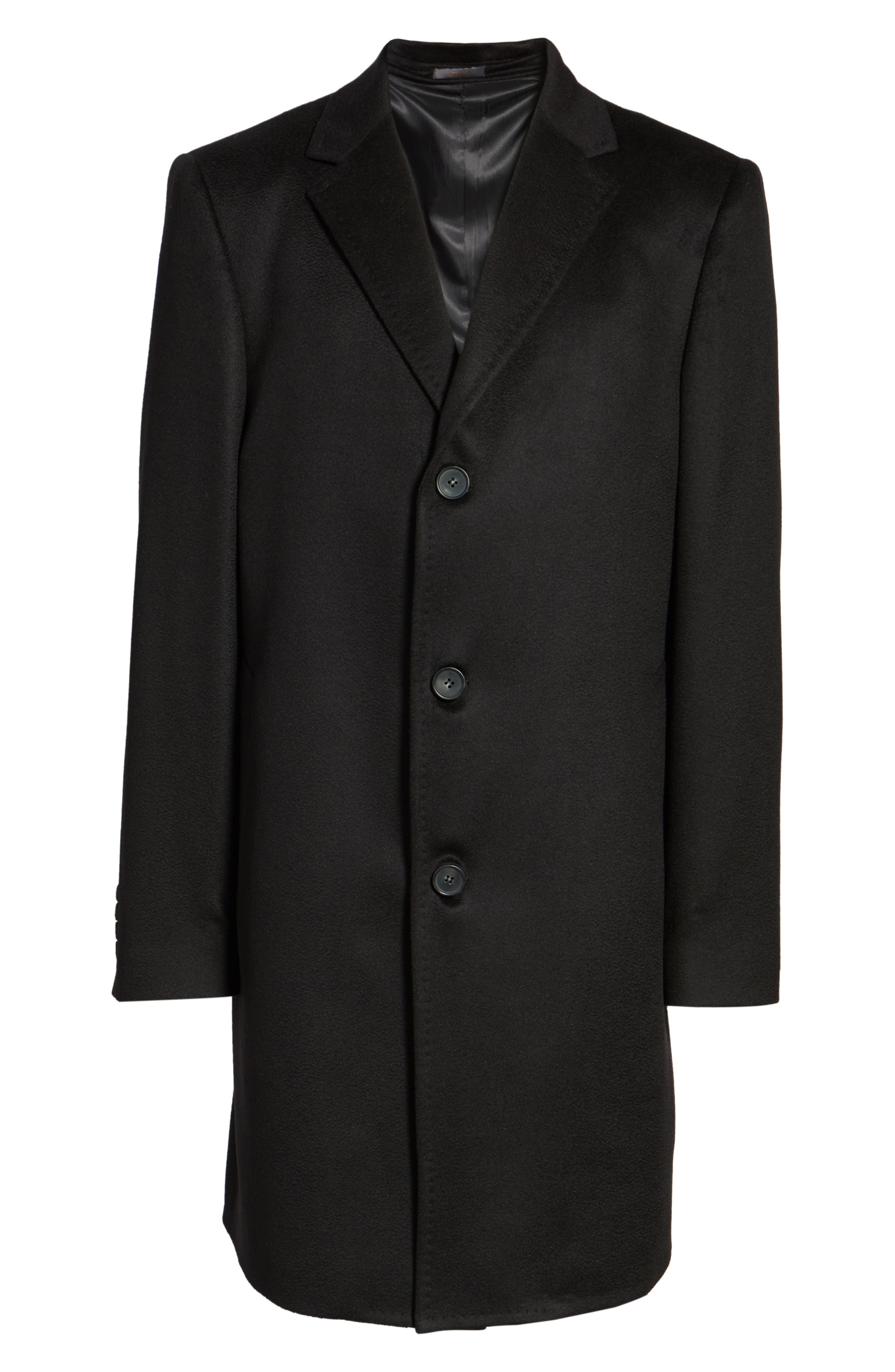 Carter Classic Fit Cashmere Overcoat,                             Alternate thumbnail 6, color,                             Black