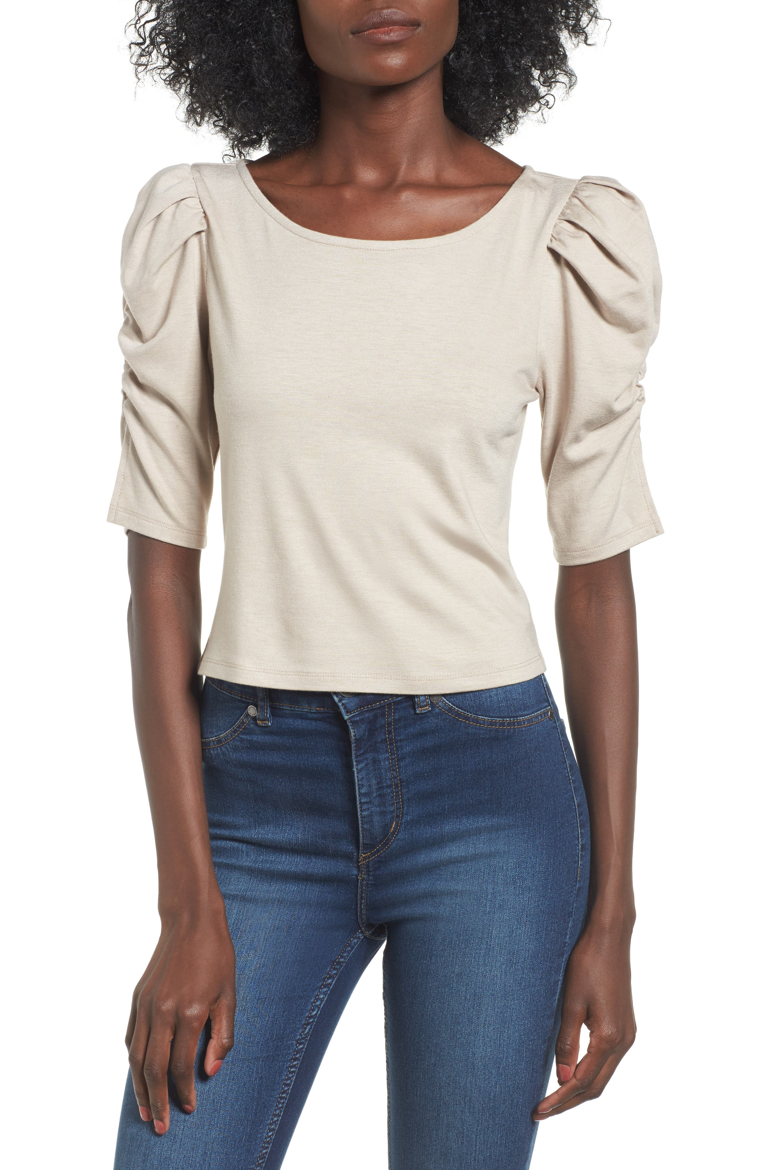 Puff Sleeve Top,                             Main thumbnail 1, color,                             Beige Oatmeal
