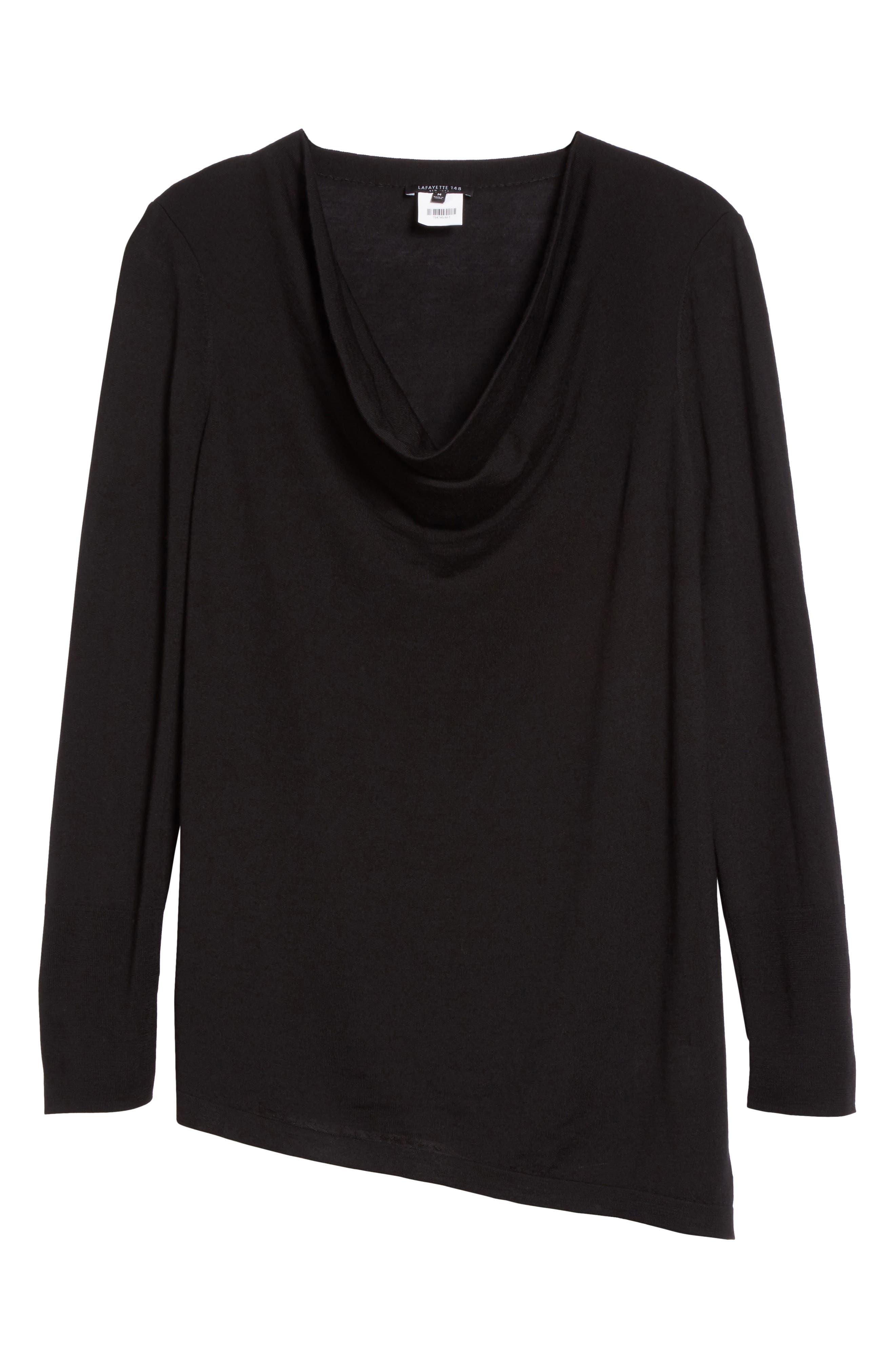 Asymmetrical Cowl Neck Sweater,                             Alternate thumbnail 7, color,                             Black
