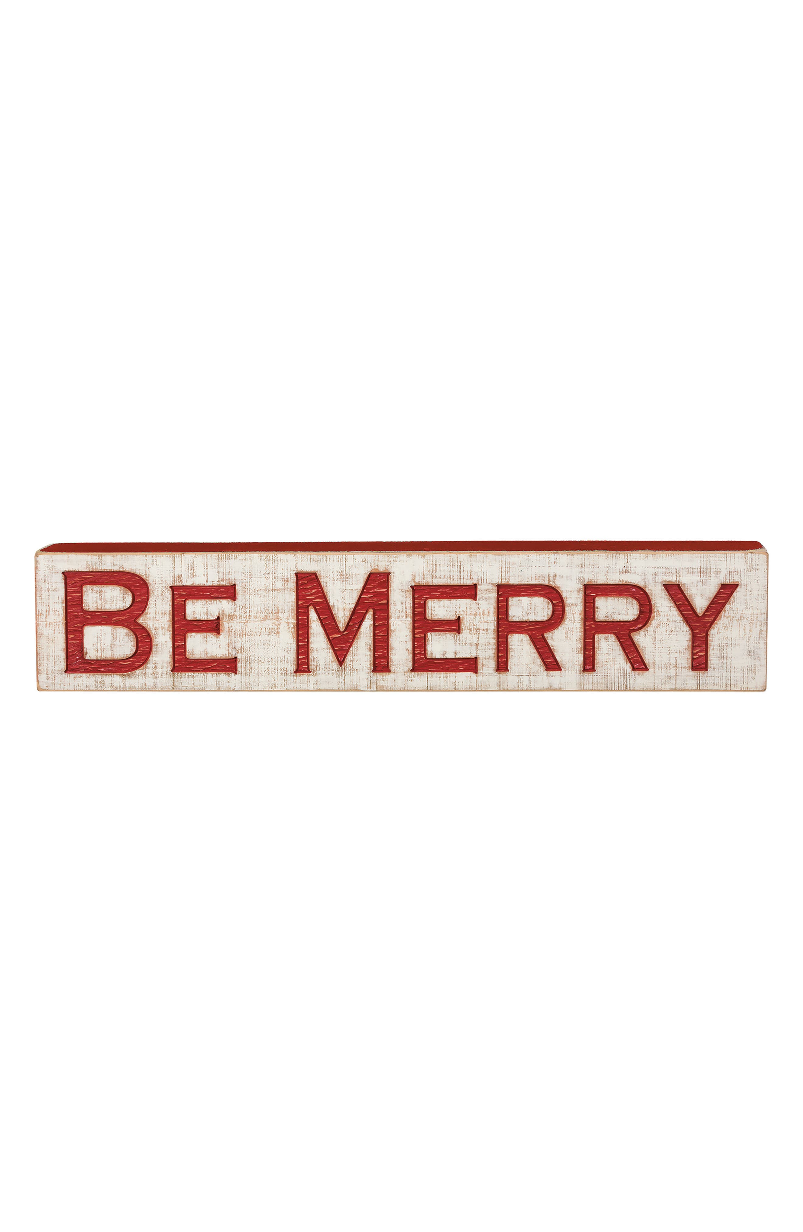 Be Merry Carved Wood Sign,                         Main,                         color, Red