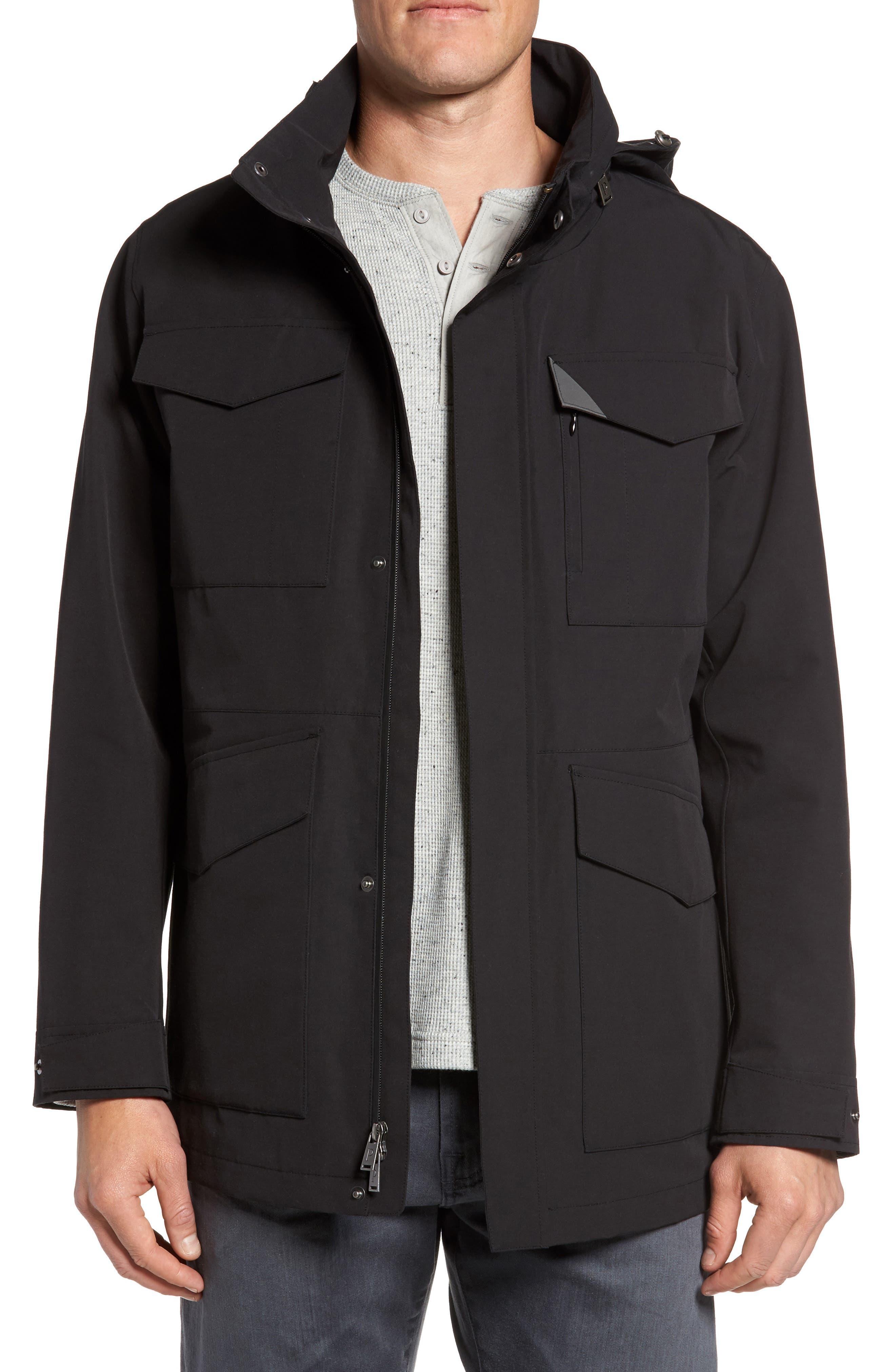 Clyde Hill Waterproof Field Jacket,                             Main thumbnail 1, color,                             Black
