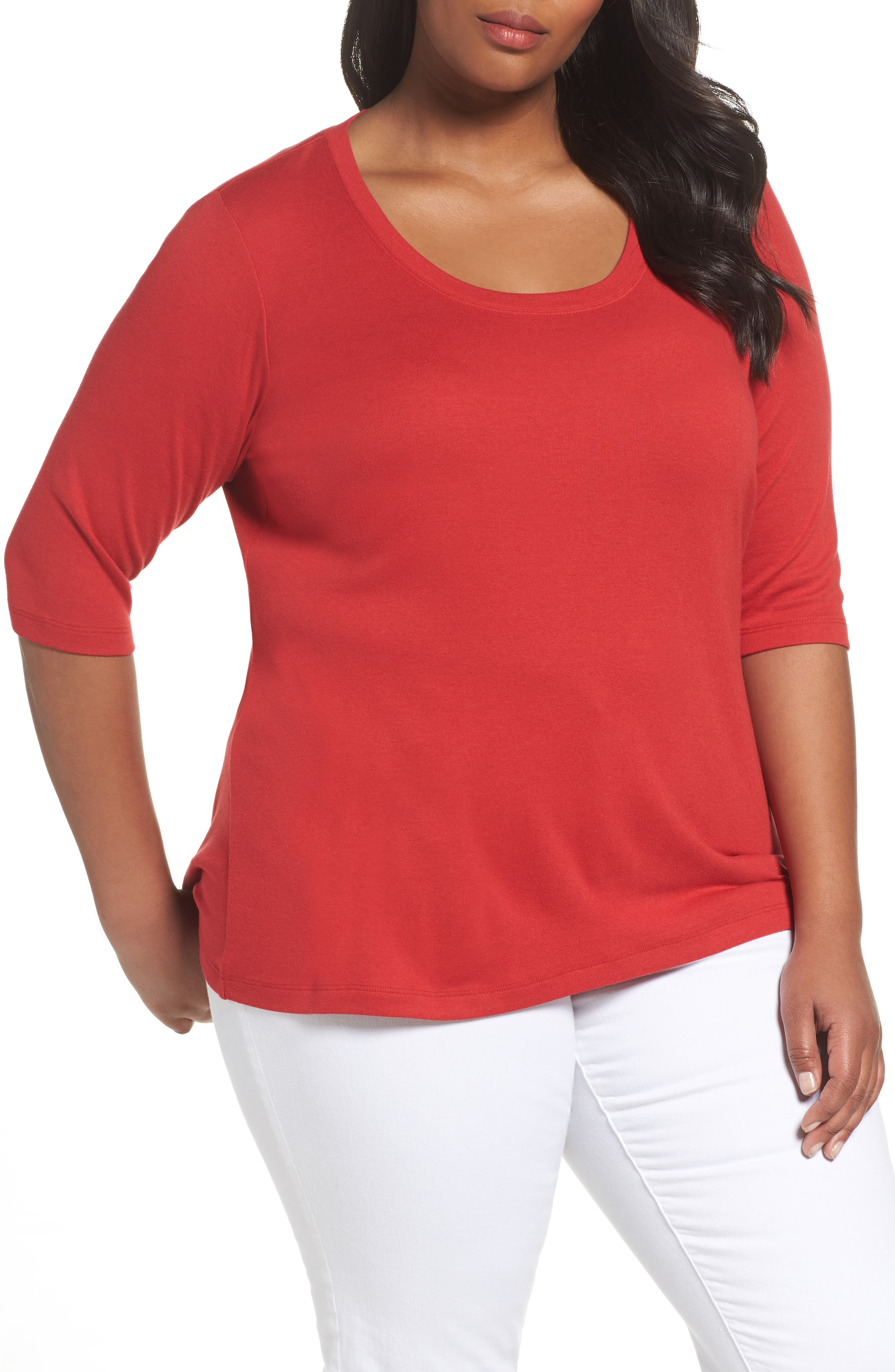SEJOUR Elbow Sleeve Scoop Neck Tee