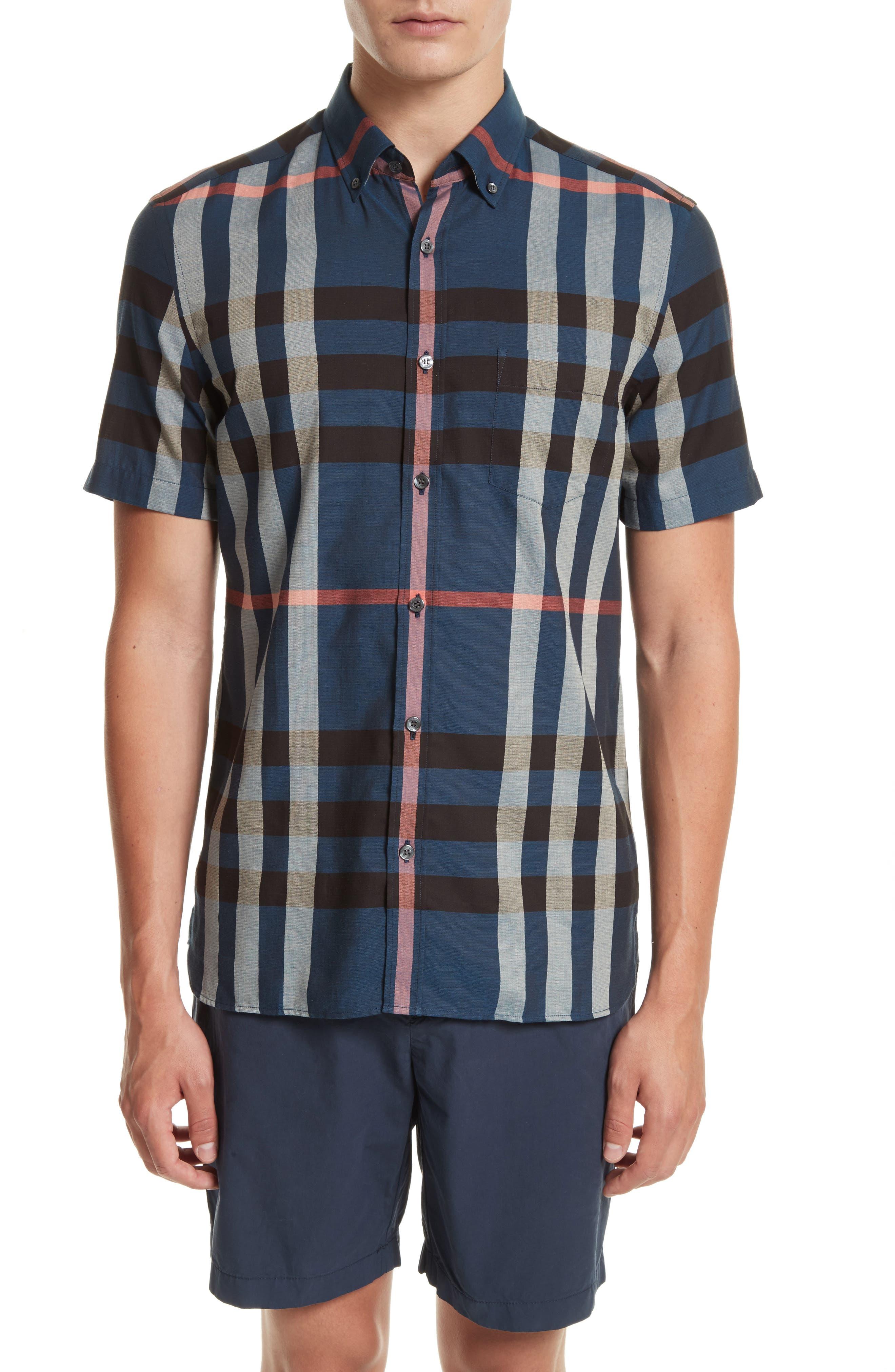 Main Image - Burberry Moore Regular Fit Plaid Short Sleeve Sport Shirt