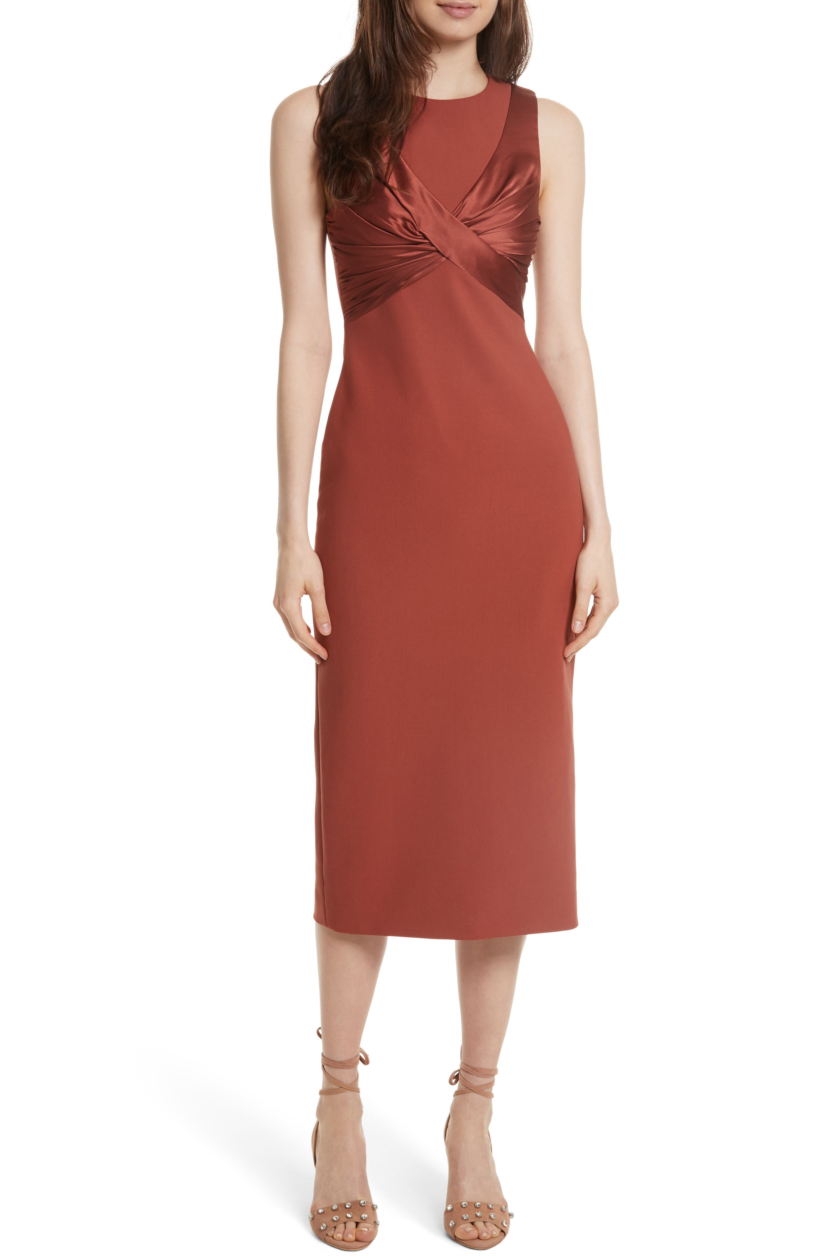 Adelise Crossover Sleeveless Sheath Dress,                         Main,                         color, Tobacco