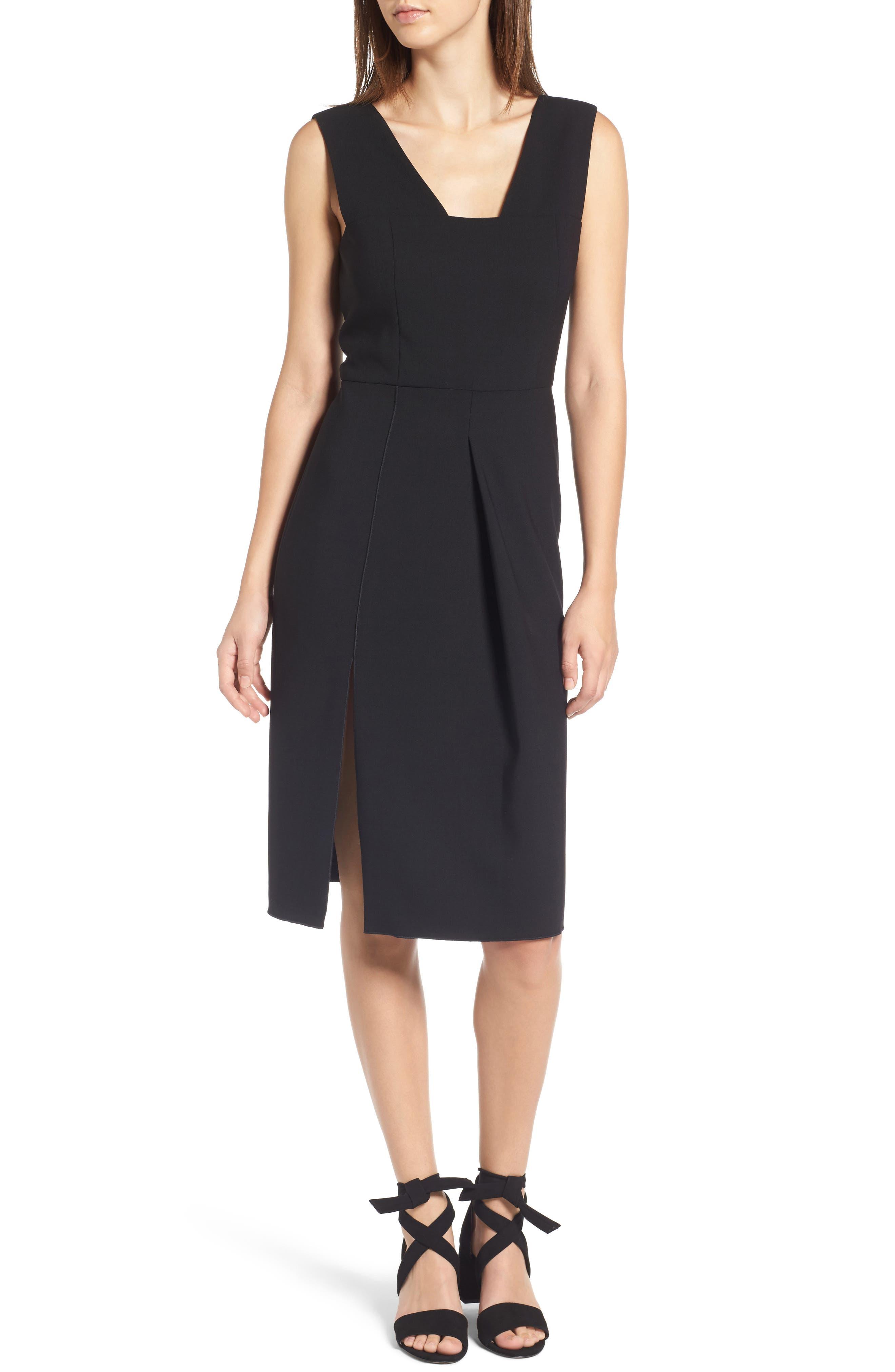 Corset Detail Stretch Wool Sheath Dress,                             Main thumbnail 1, color,                             Black