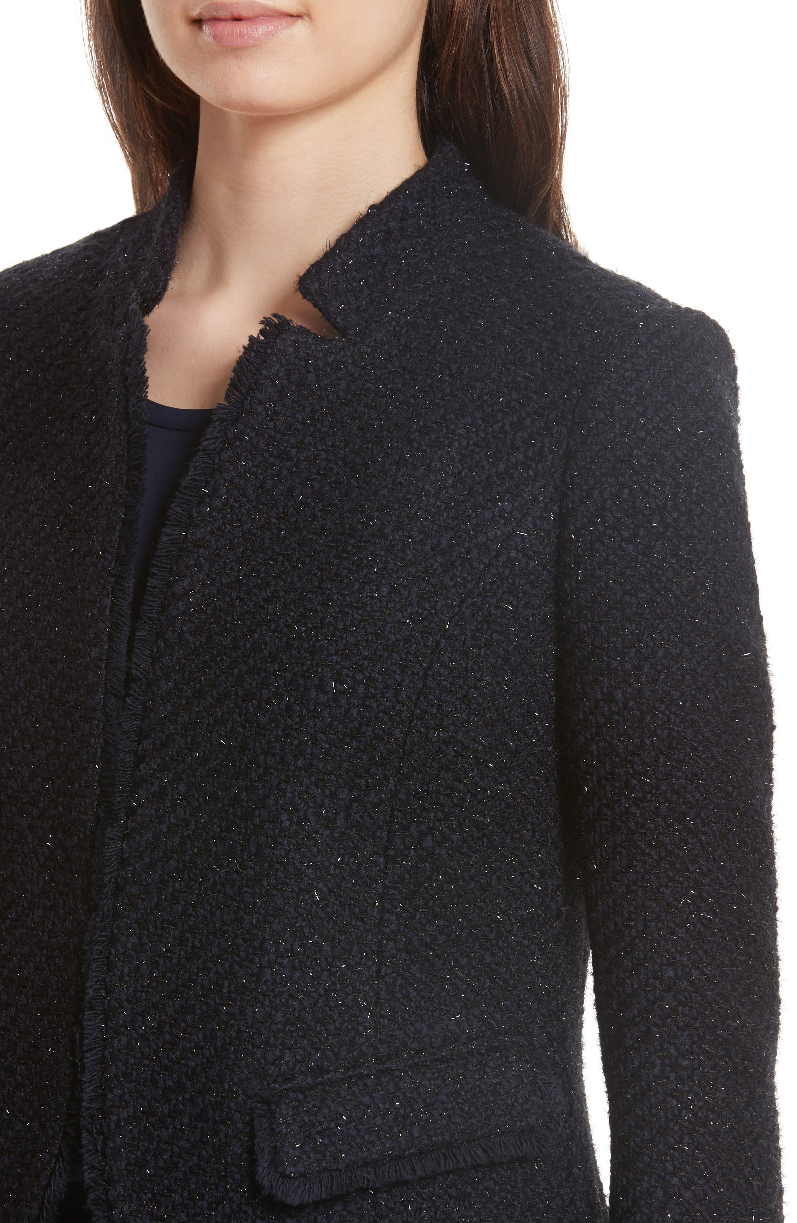 Glitter Tweed Jacket,                             Alternate thumbnail 4, color,                             Navy