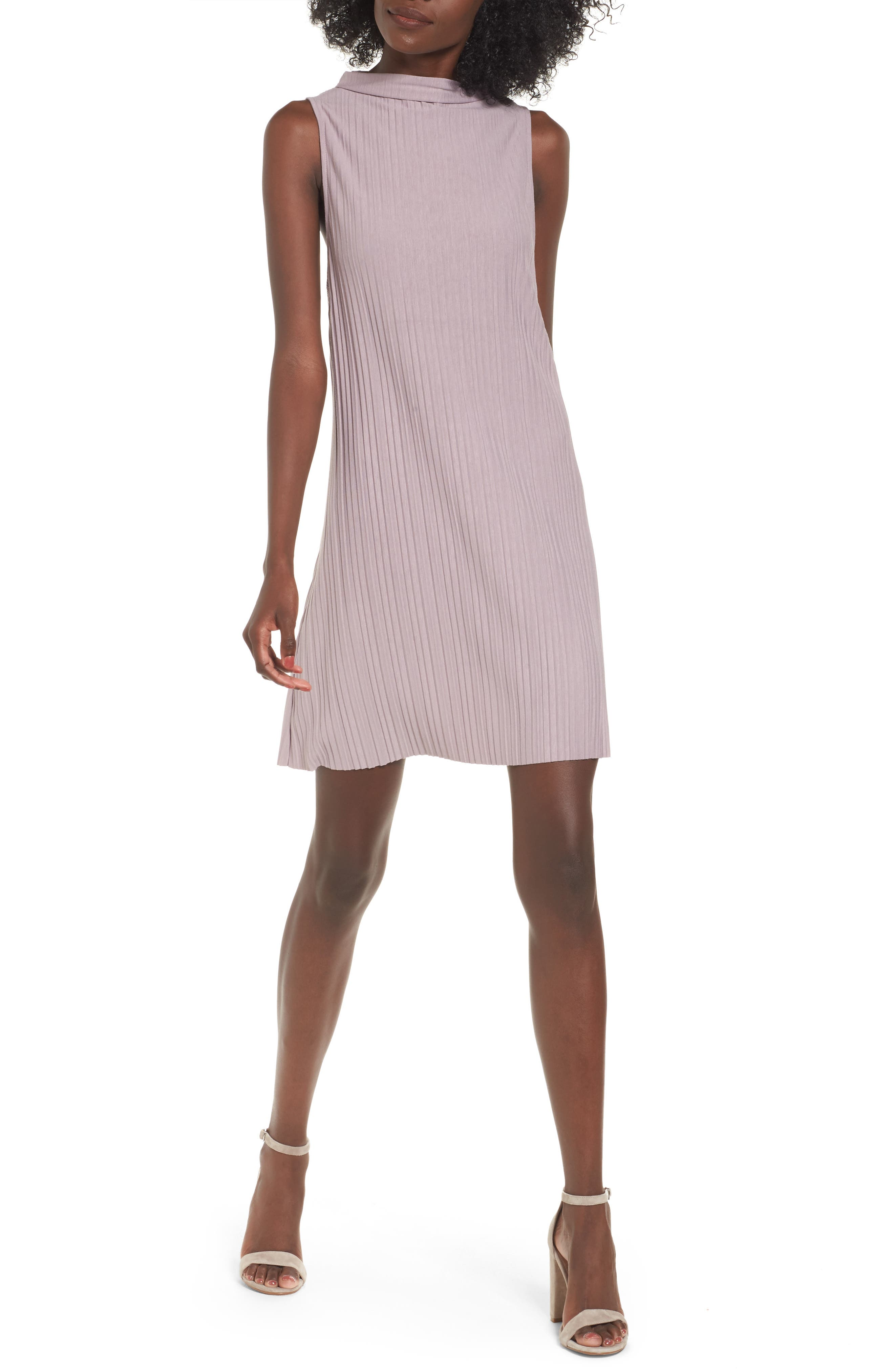 Plissé Pleat Shift Dress,                             Main thumbnail 1, color,                             Purple Quail