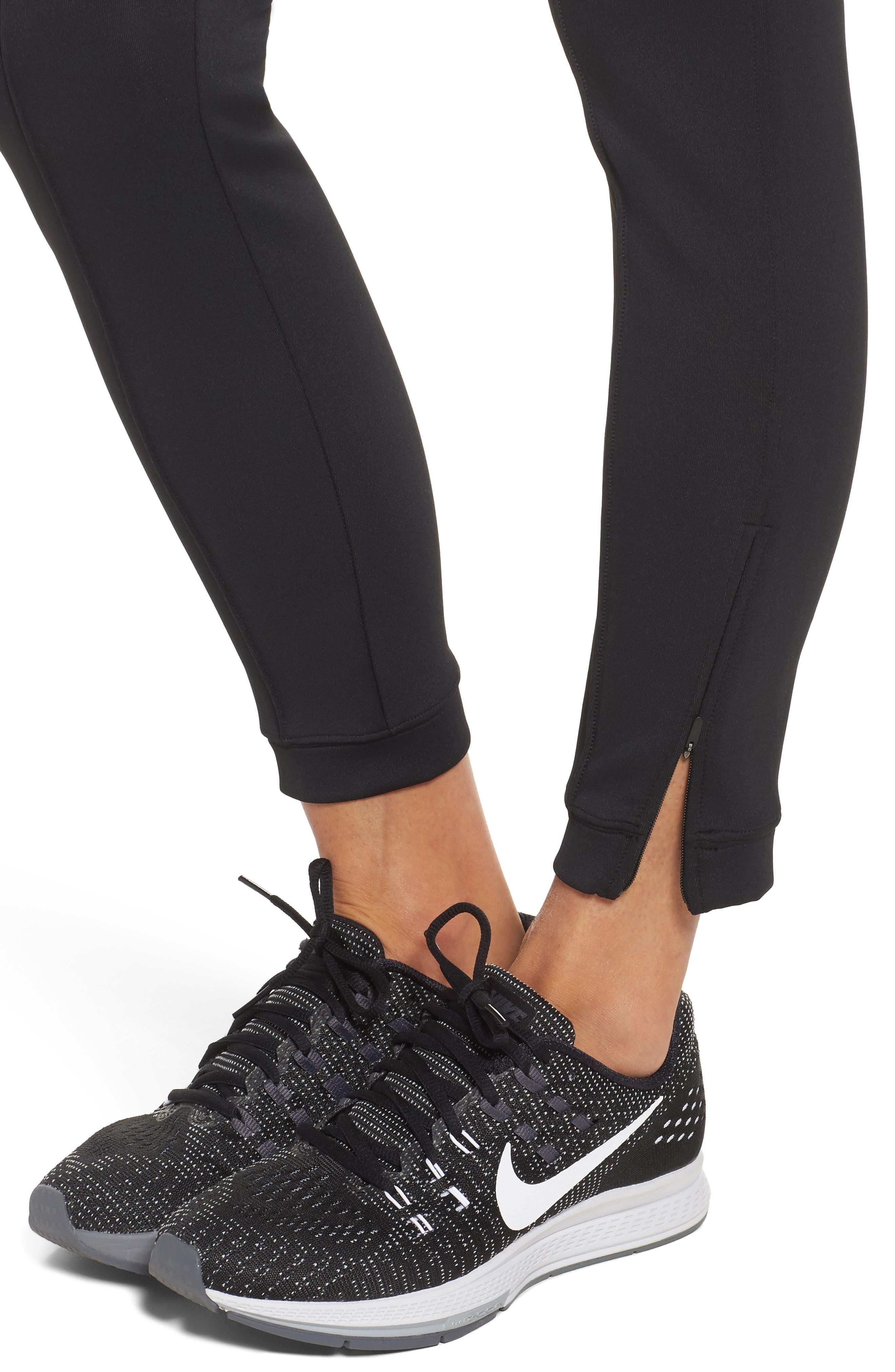 Zip Ankle Leggings,                             Alternate thumbnail 4, color,                             Black/ Black