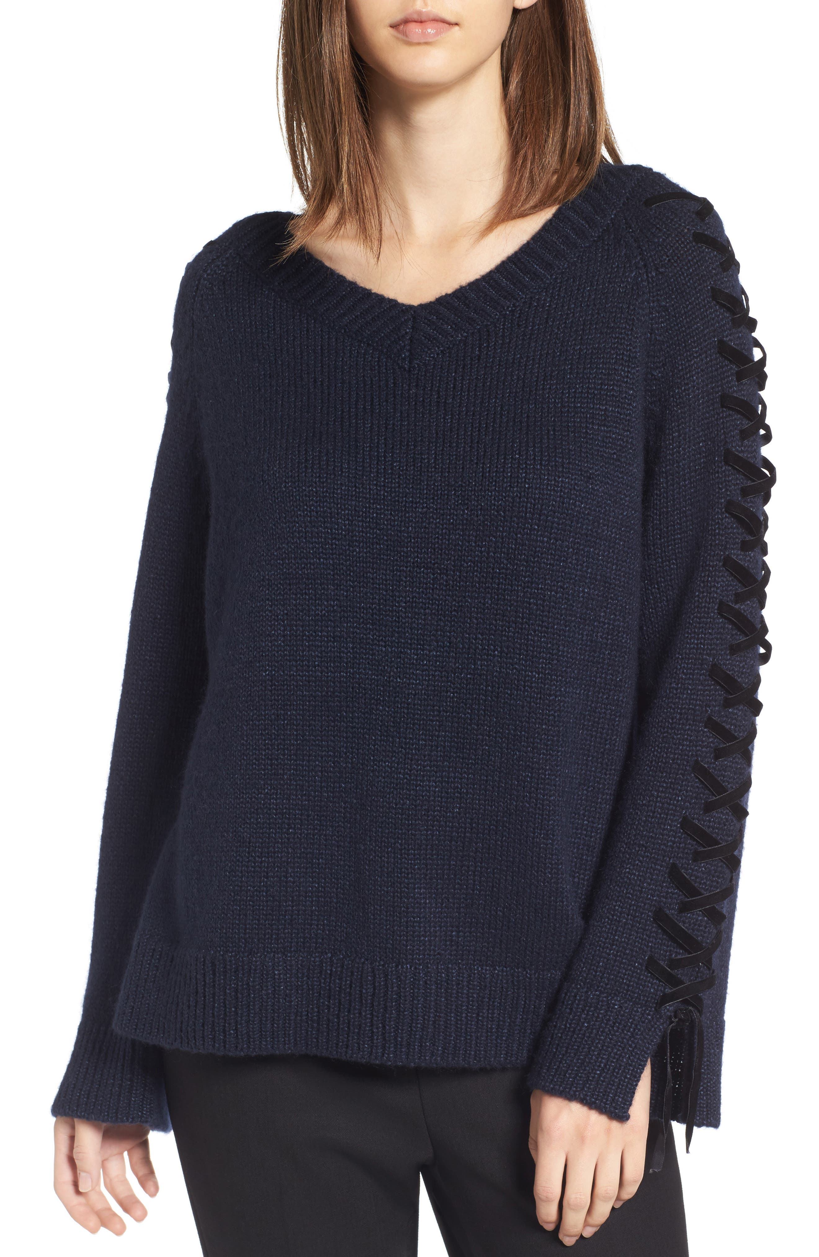 Laced Sleeve Pullover,                             Main thumbnail 1, color,                             Navy Night