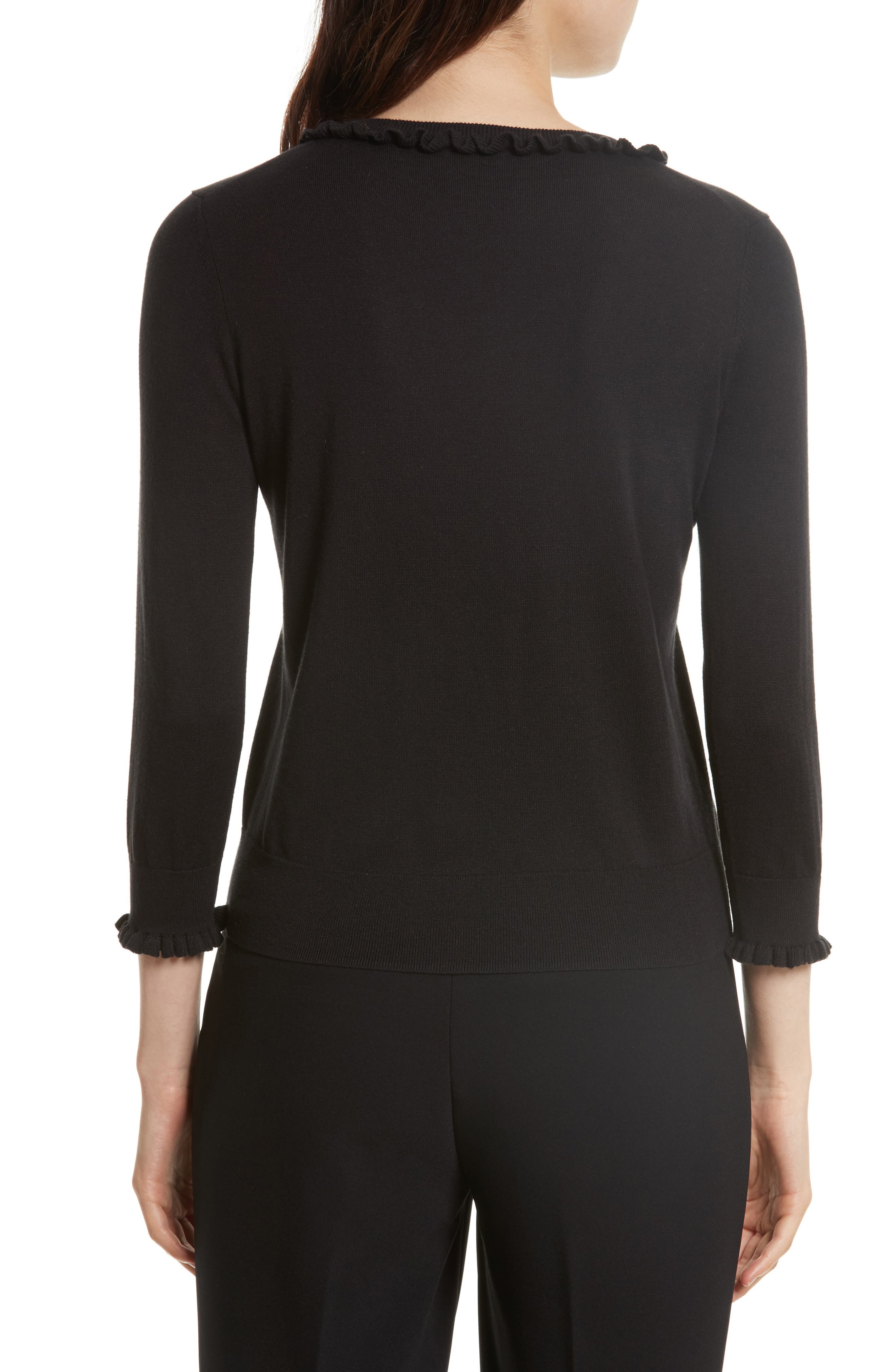 ruffle silk blend sweater,                             Alternate thumbnail 2, color,                             Black