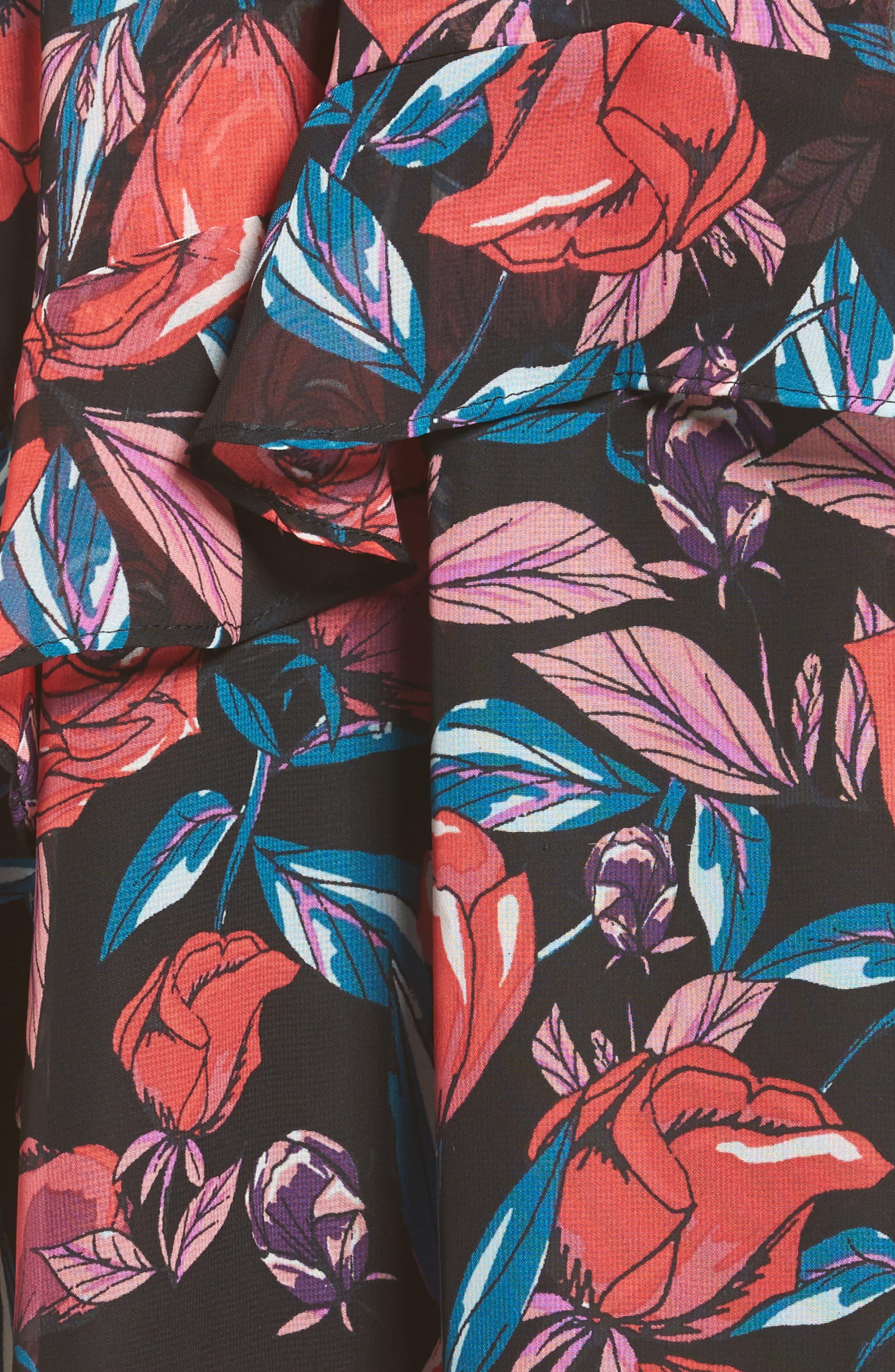 Ruffle Minidress,                             Alternate thumbnail 5, color,                             Black/ Pink